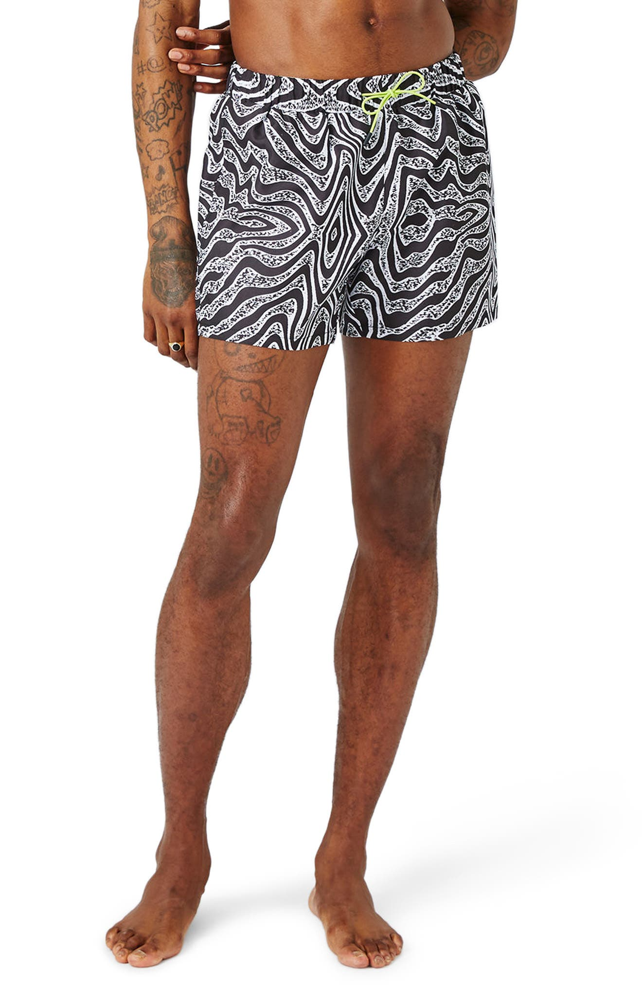 Topman Distortion Print Swim Trunks