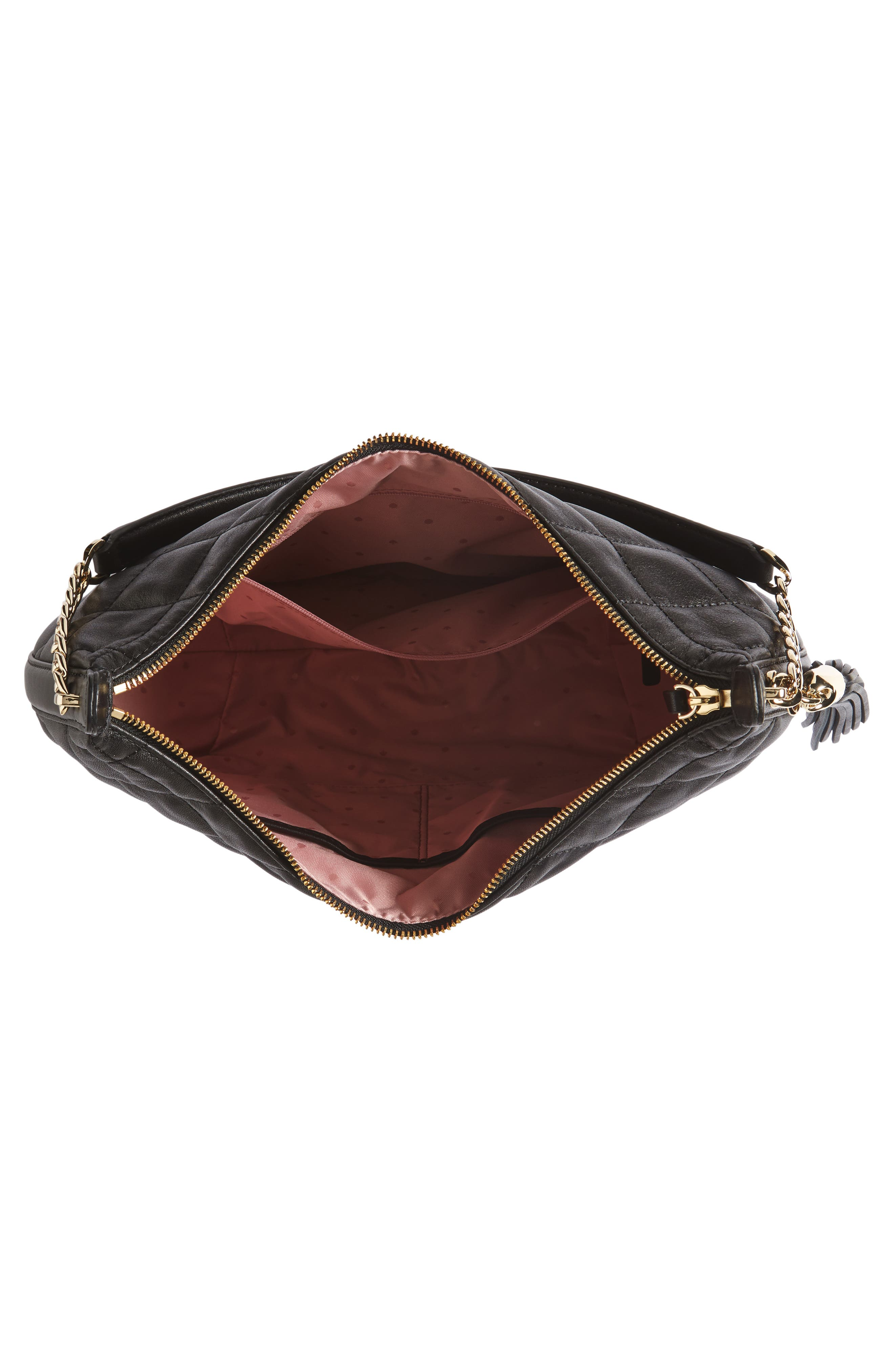 emerson place - tamsin leather hobo,                             Alternate thumbnail 4, color,                             Black