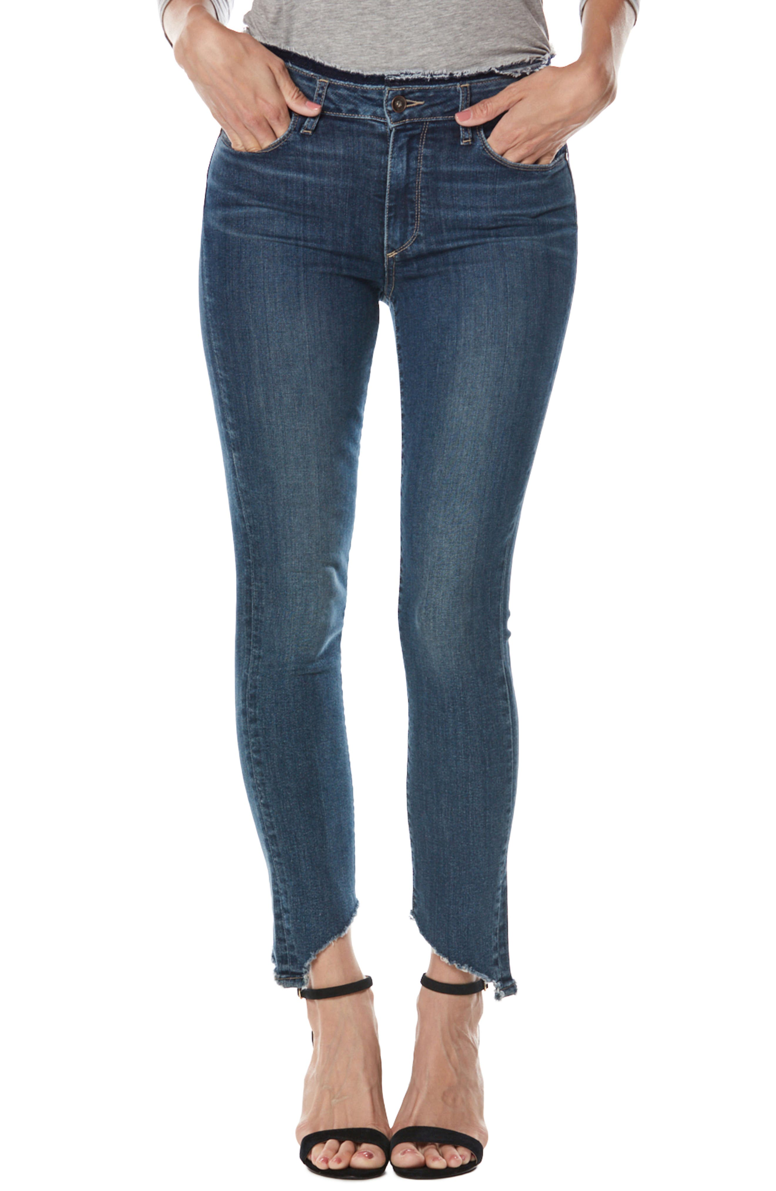 PAIGE Hoxton High Waist Frayed Hem Ankle Skinny Jeans