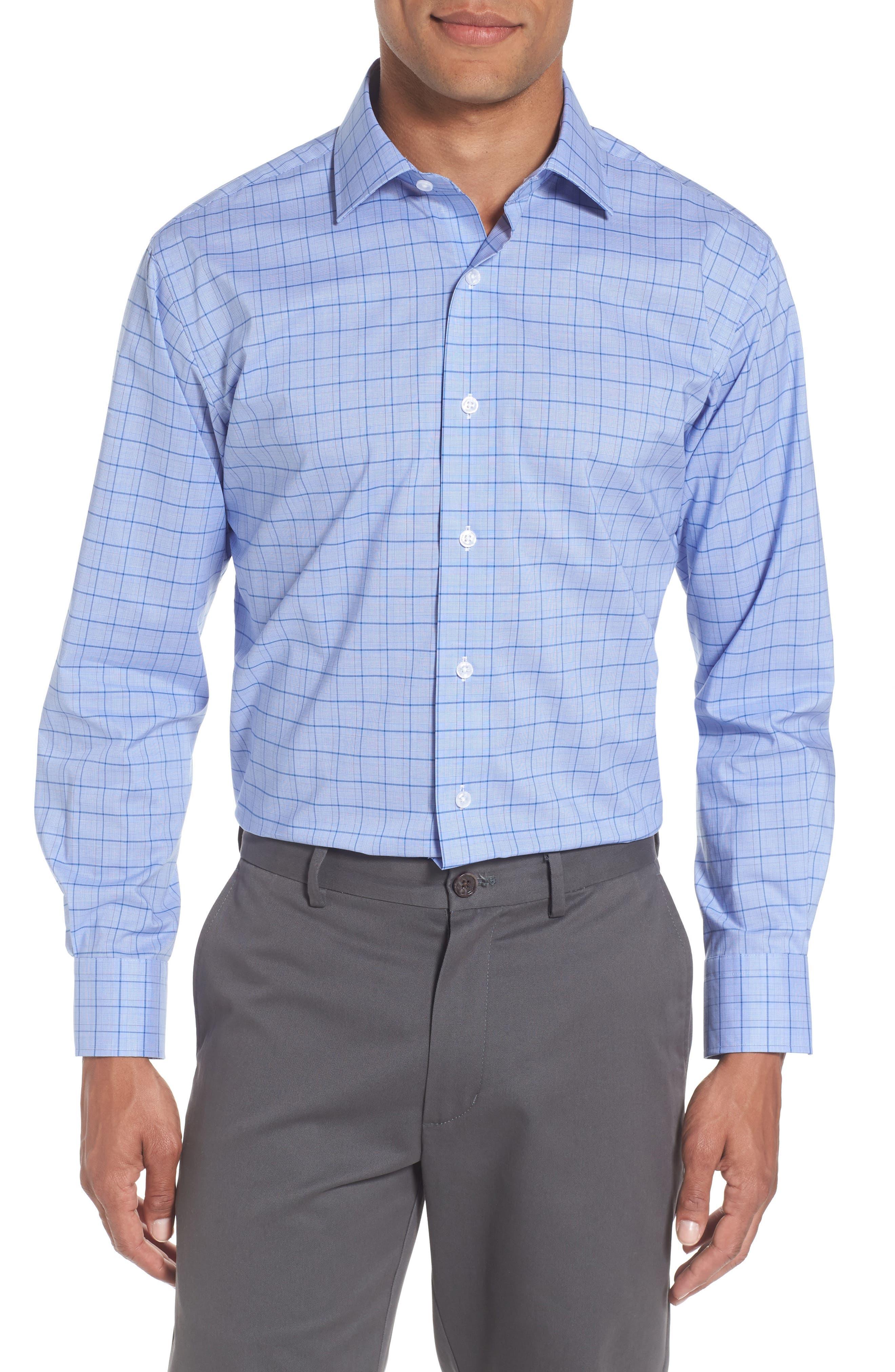 Trim Fit Plaid Dress Shirt,                         Main,                         color, Blue