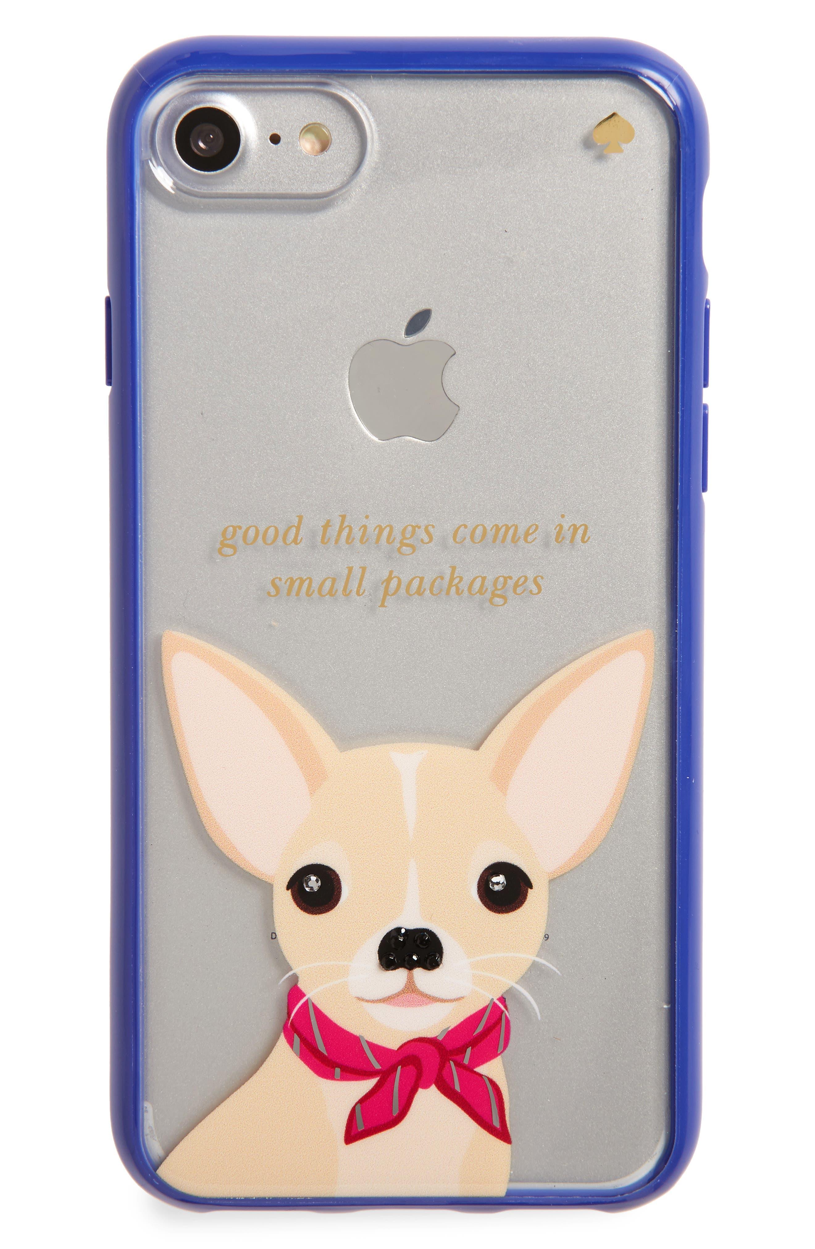 KATE SPADE NEW YORK jeweled chihuahua iPhone 7 case