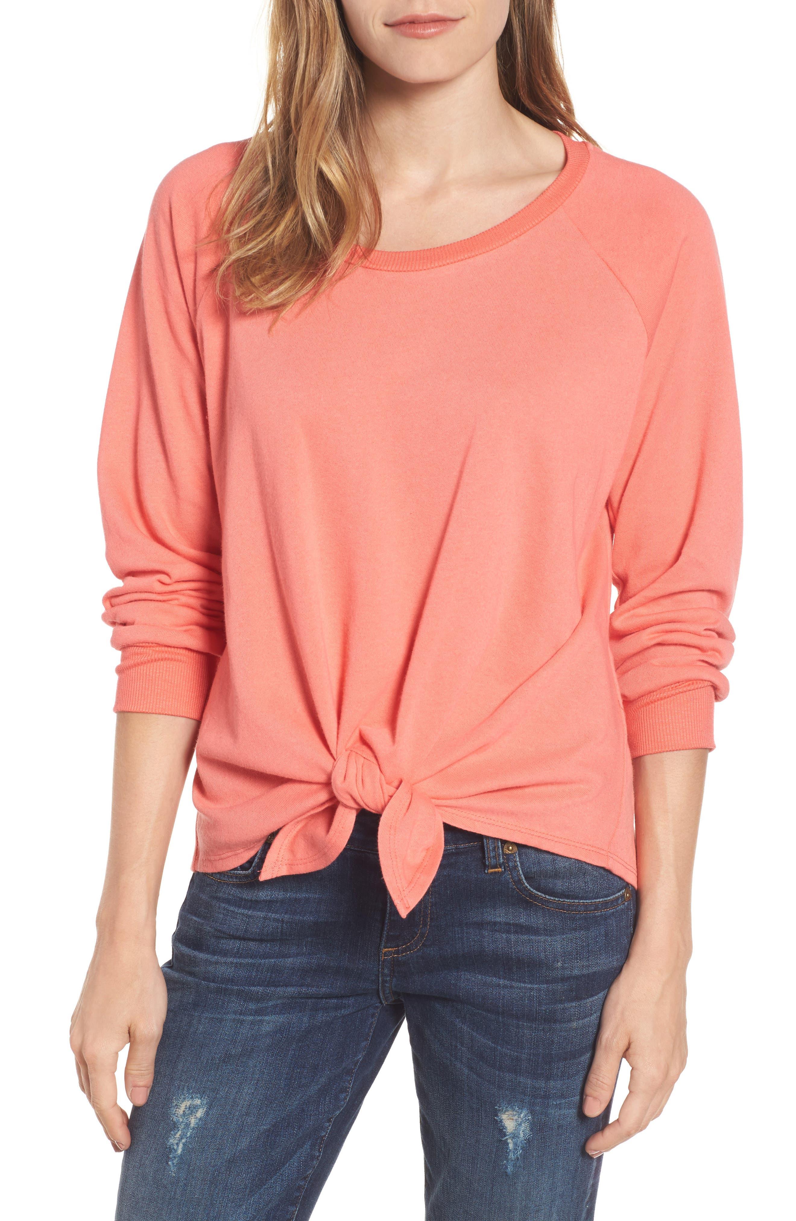 Main Image - Caslon® Tie Front Cotton Blend Sweatshirt (Regular & Petite)
