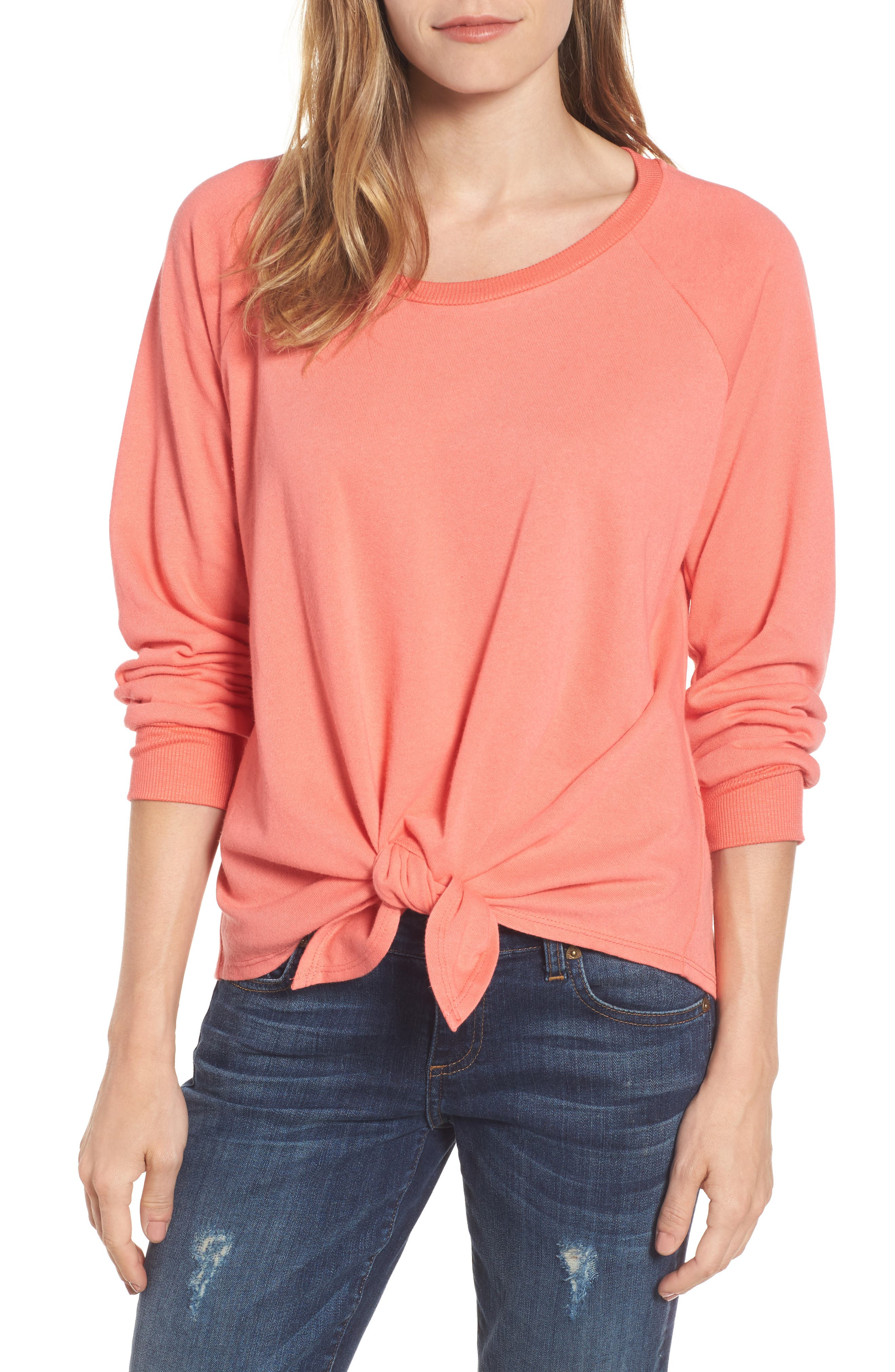 Caslon® Tie Front Cotton Blend Sweatshirt (Regular & Petite)