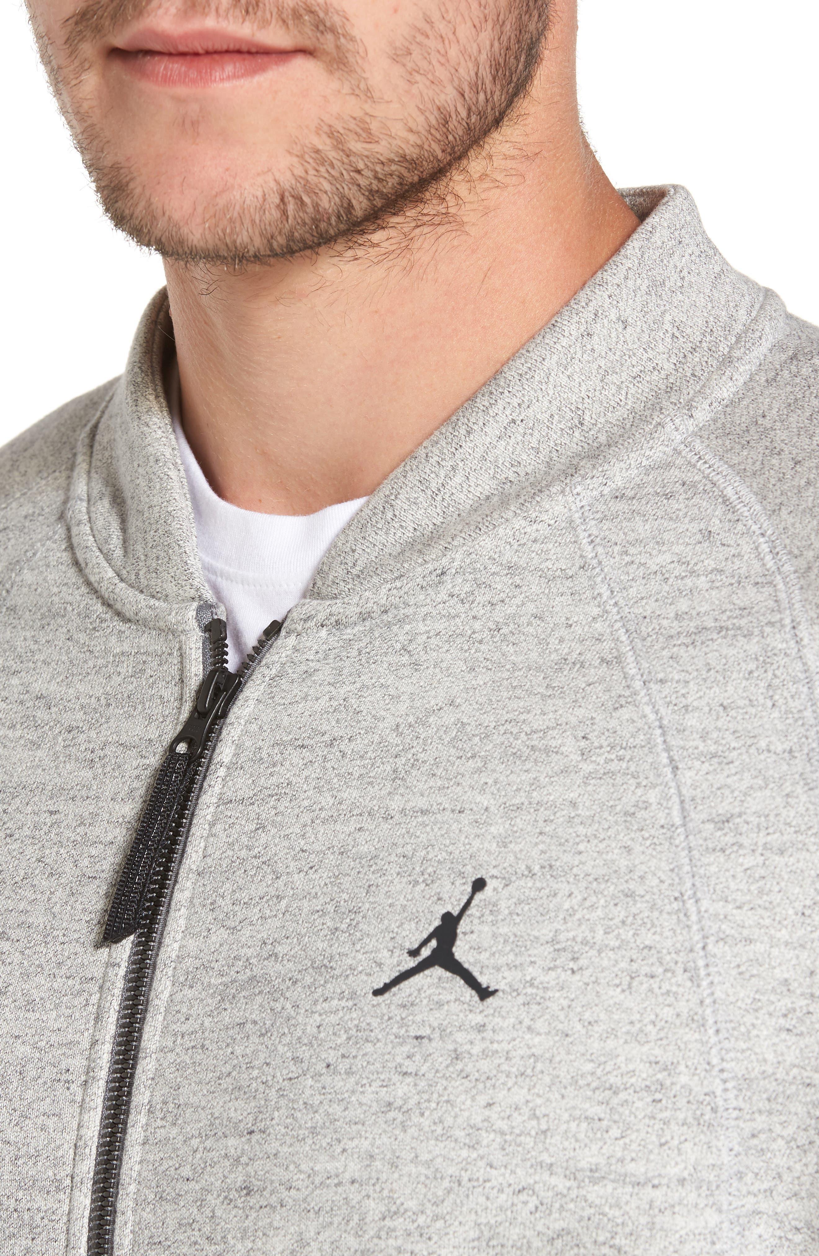 Sportswear Wings Fleece Bomber Jacket,                             Alternate thumbnail 4, color,                             Dark Grey Heather/ Black