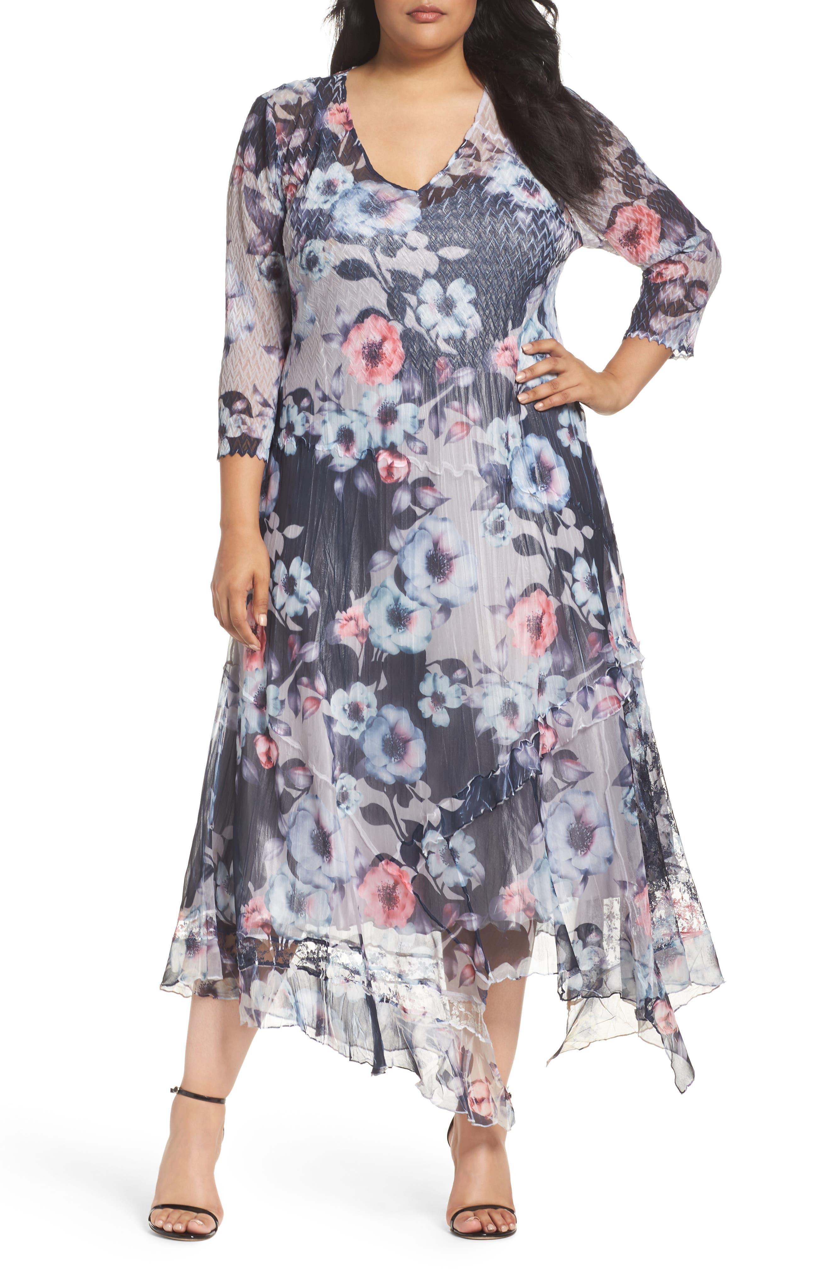 KOMAROV Handkerchief Hem Floral Charmeuse & Chiffon Dress