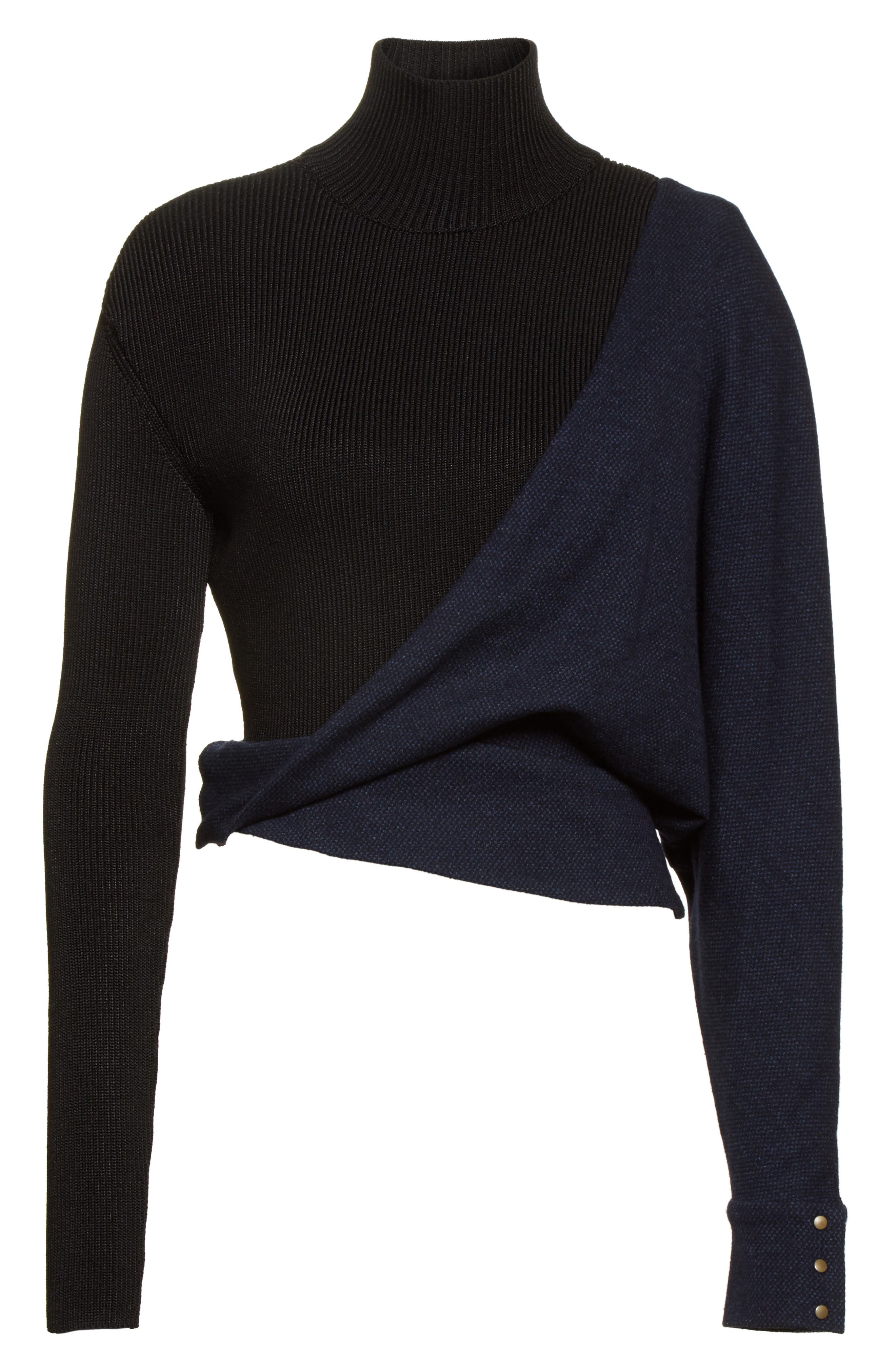 Tweed Jersey & Knit Turtleneck Sweater,                             Alternate thumbnail 7, color,                             Blue Black