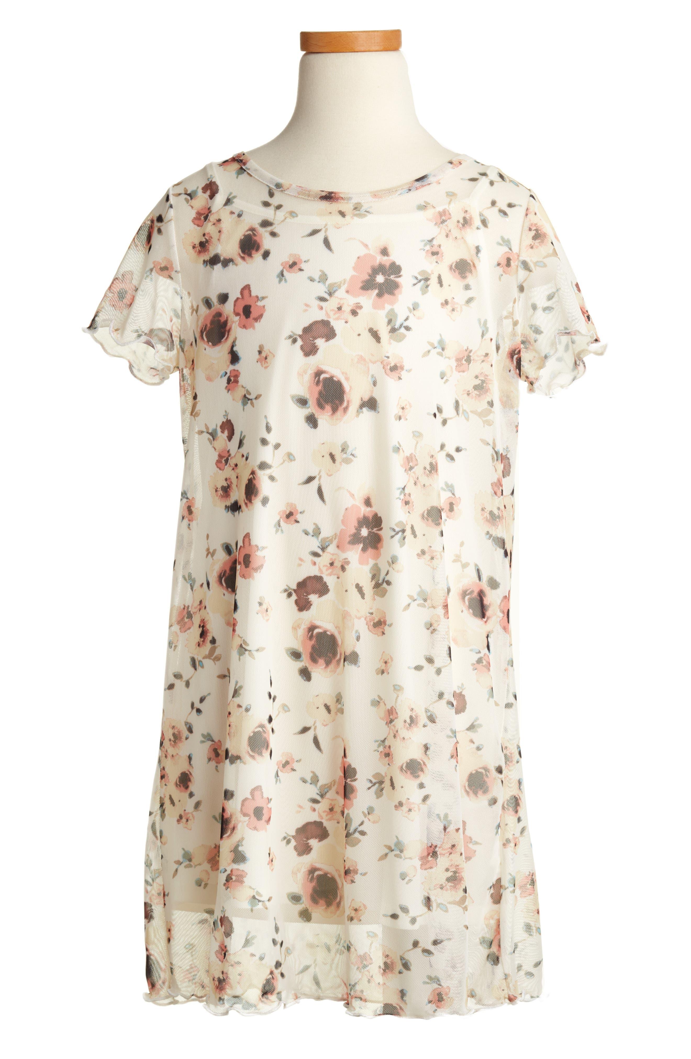 Alternate Image 1 Selected - Love, Fire Floral Mesh T-Shirt Dress (Big Girls)