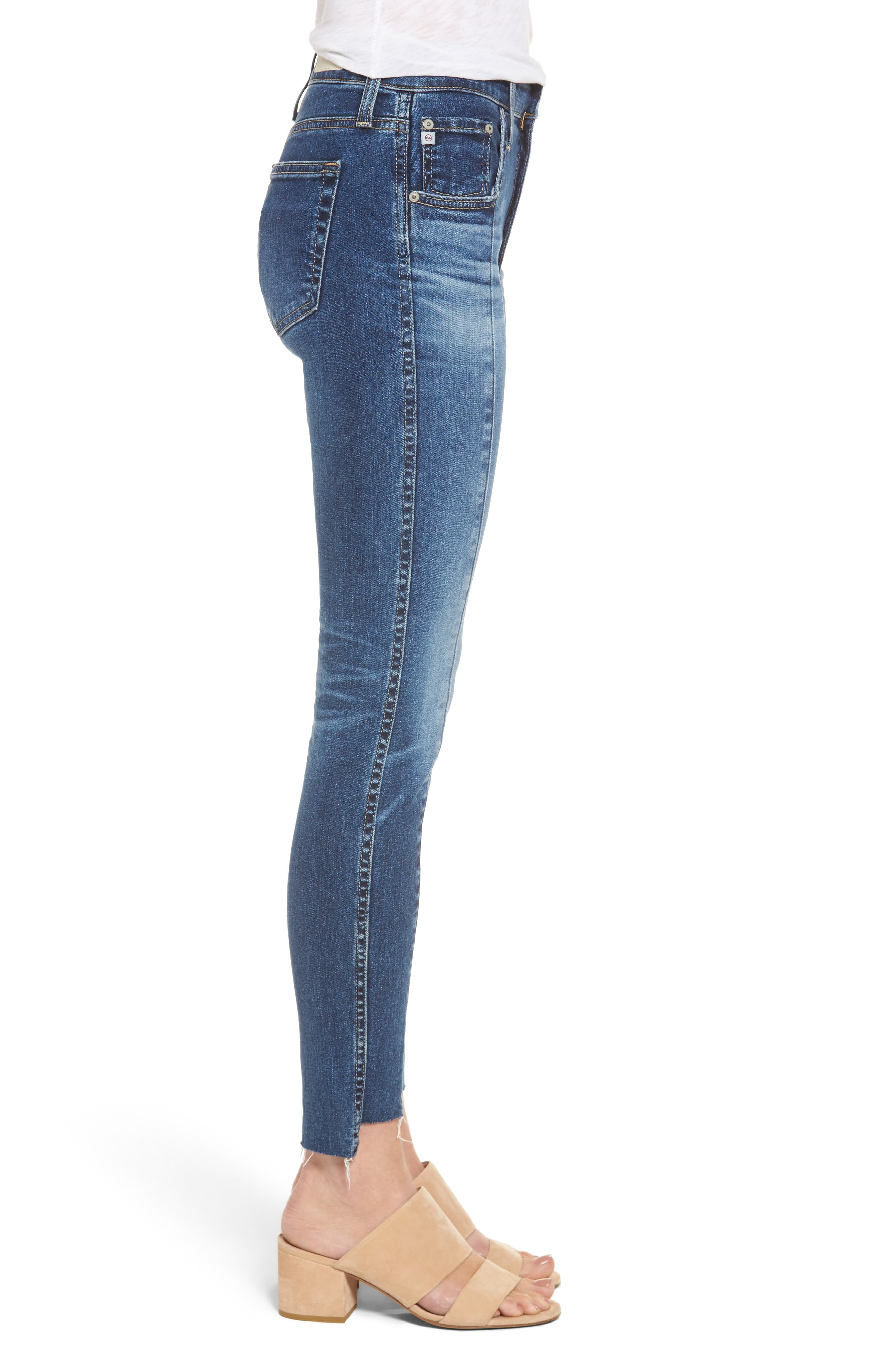Alternate Image 3  - AG The High Rise Farrah Ankle Skinny Jeans (10 Years Rhythmic Blue)