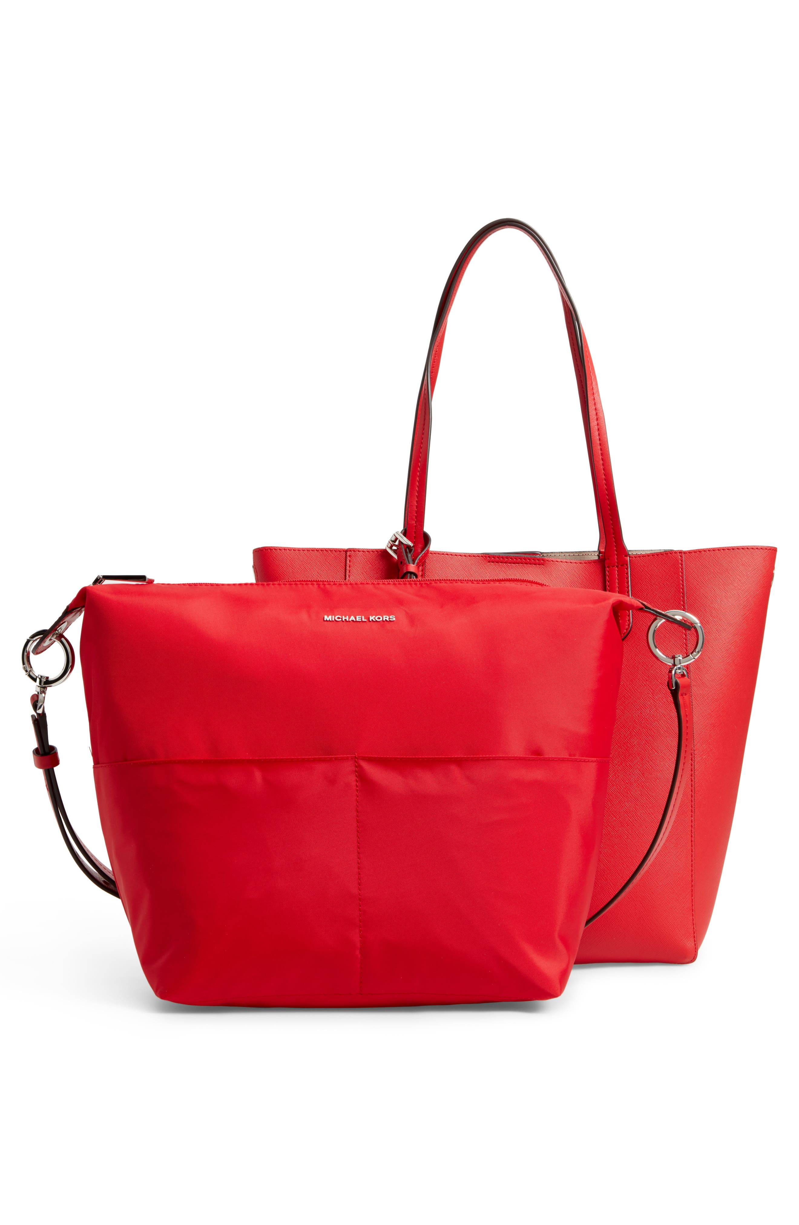 Penny Large Saffiano Convertible Leather Tote,                             Alternate thumbnail 4, color,                             Bright Red