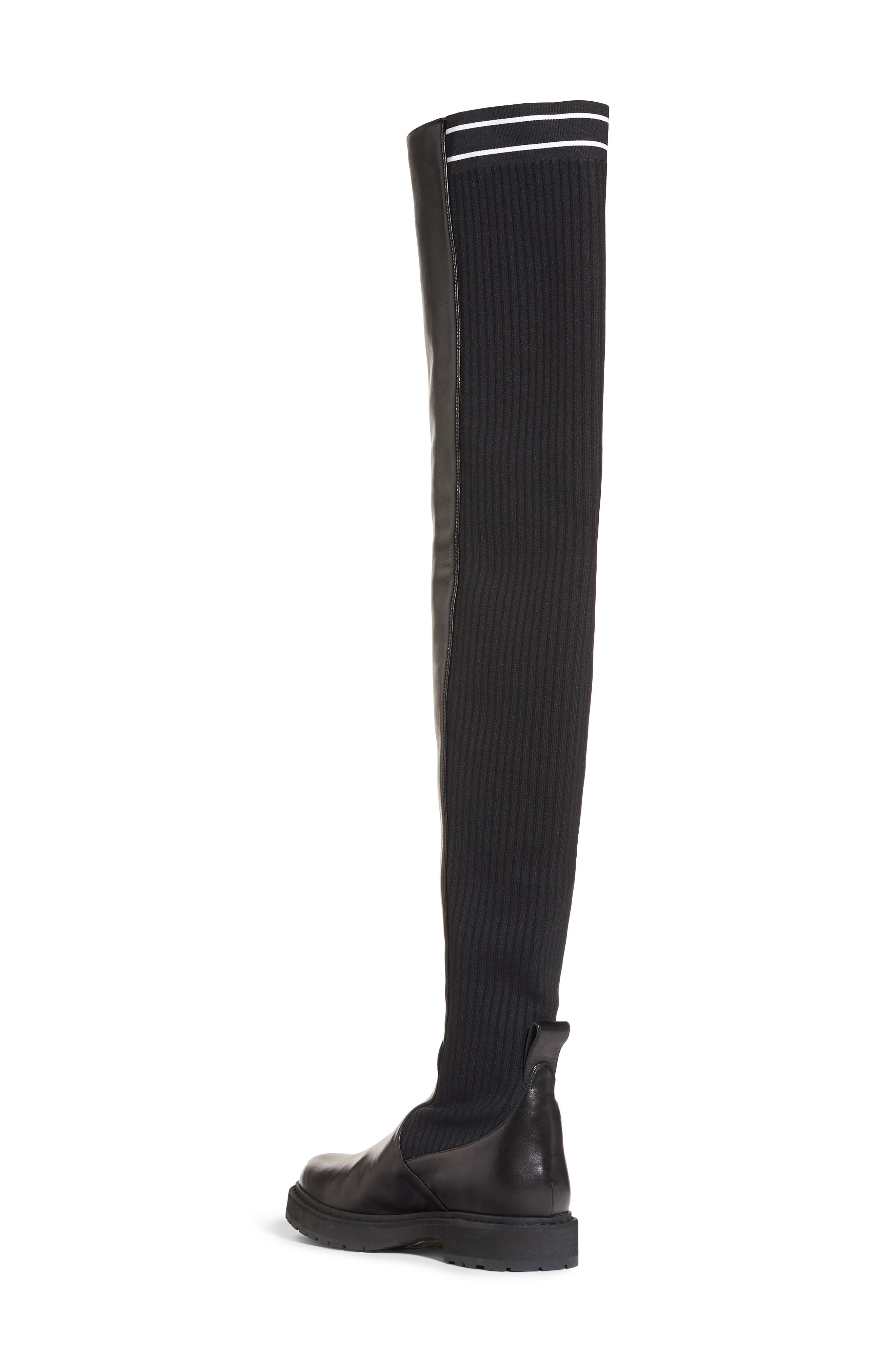 Logo Over the Knee Boot,                             Alternate thumbnail 2, color,                             Black Leather