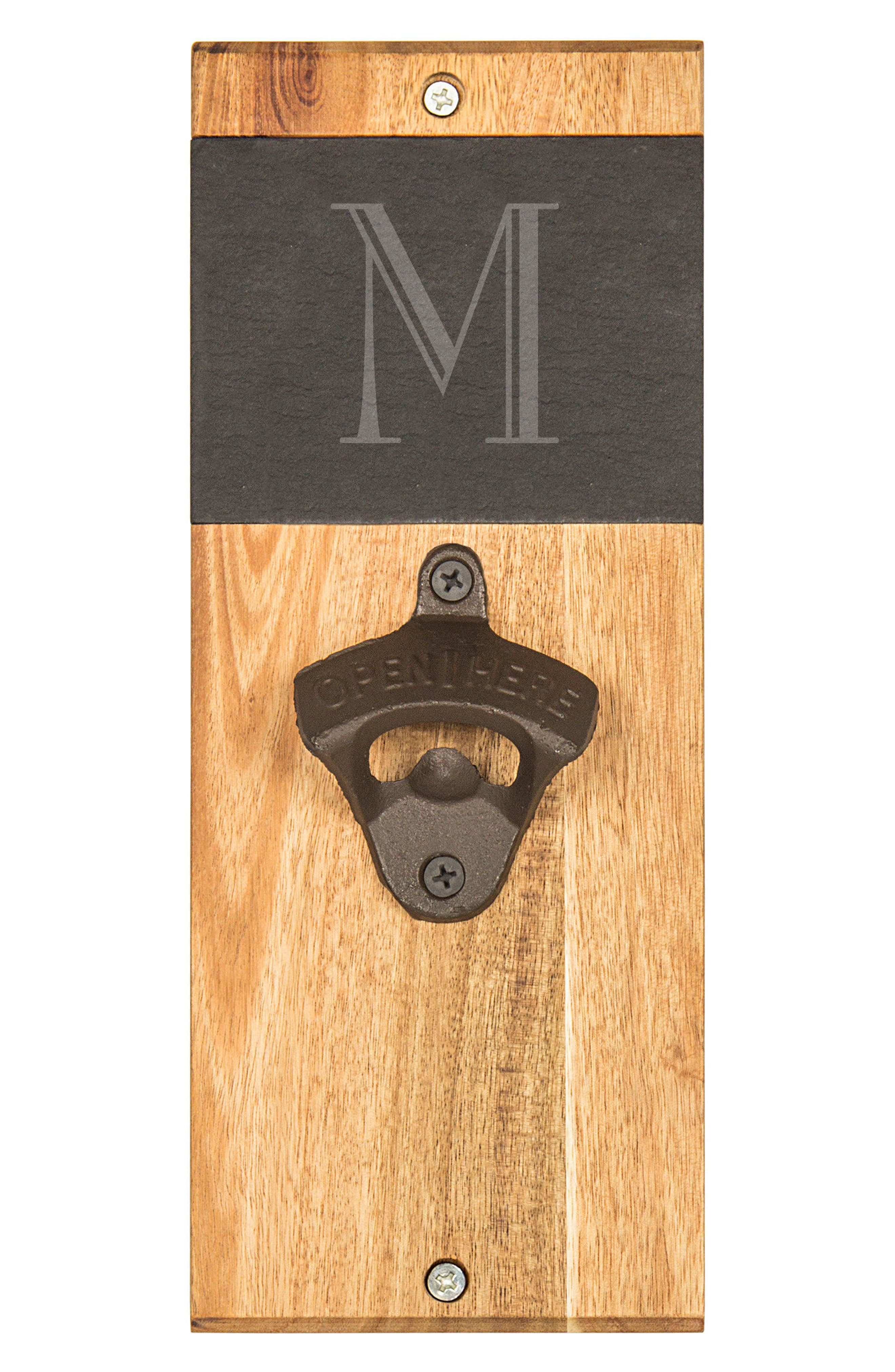 Alternate Image 2  - Cathy's Concepts Monogram Acacia & Slate Wall Bottle Opener