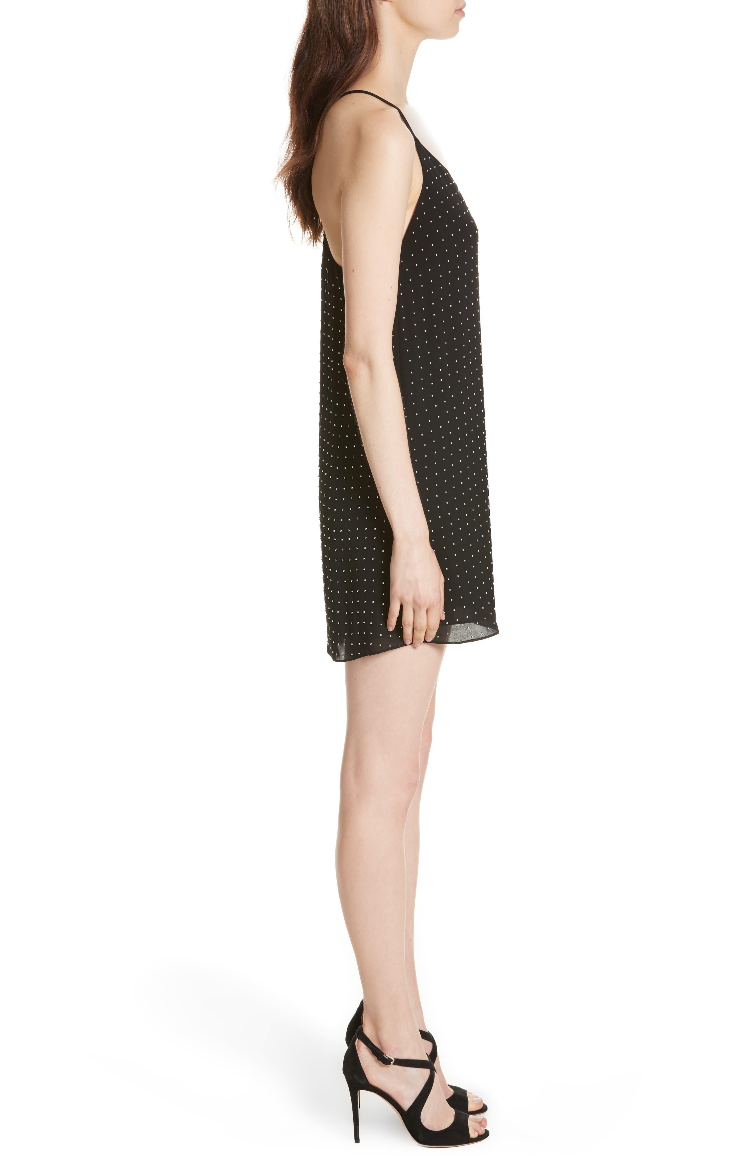 Jameson Studded Y-Back Silk Slipdress,                             Alternate thumbnail 3, color,                             Black