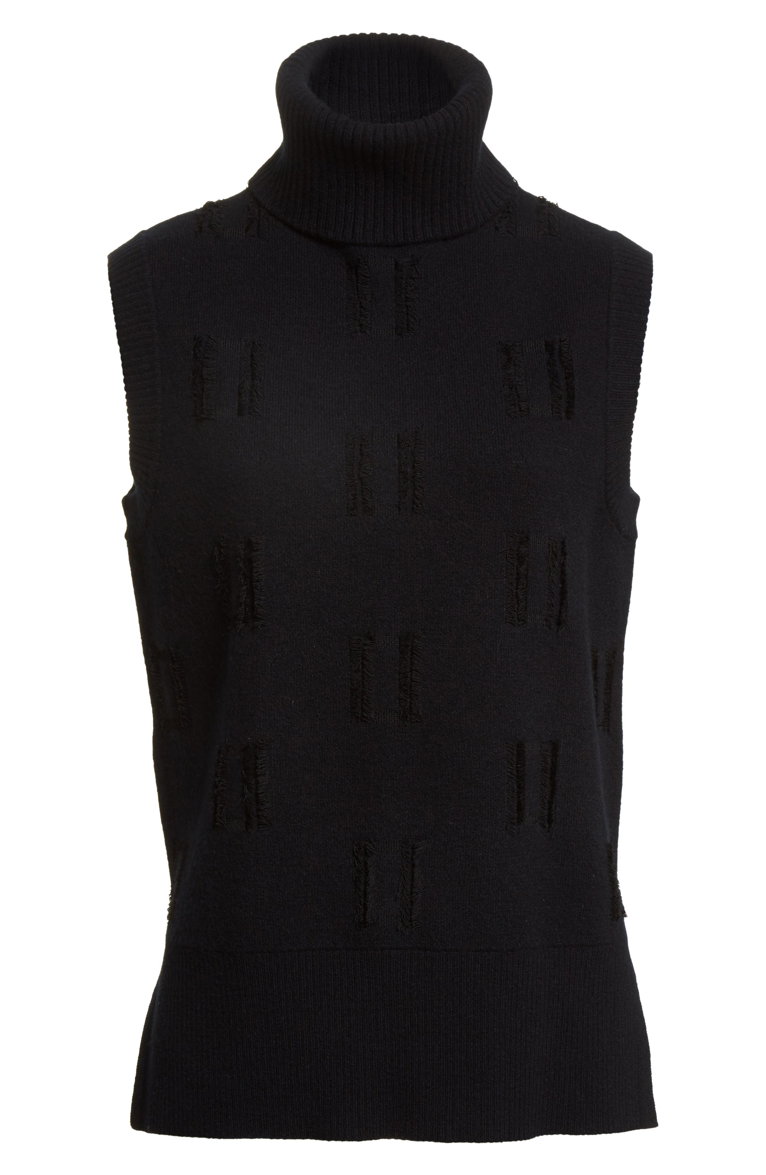 Fringe Trim Turtleneck Sweater,                             Alternate thumbnail 6, color,                             Black