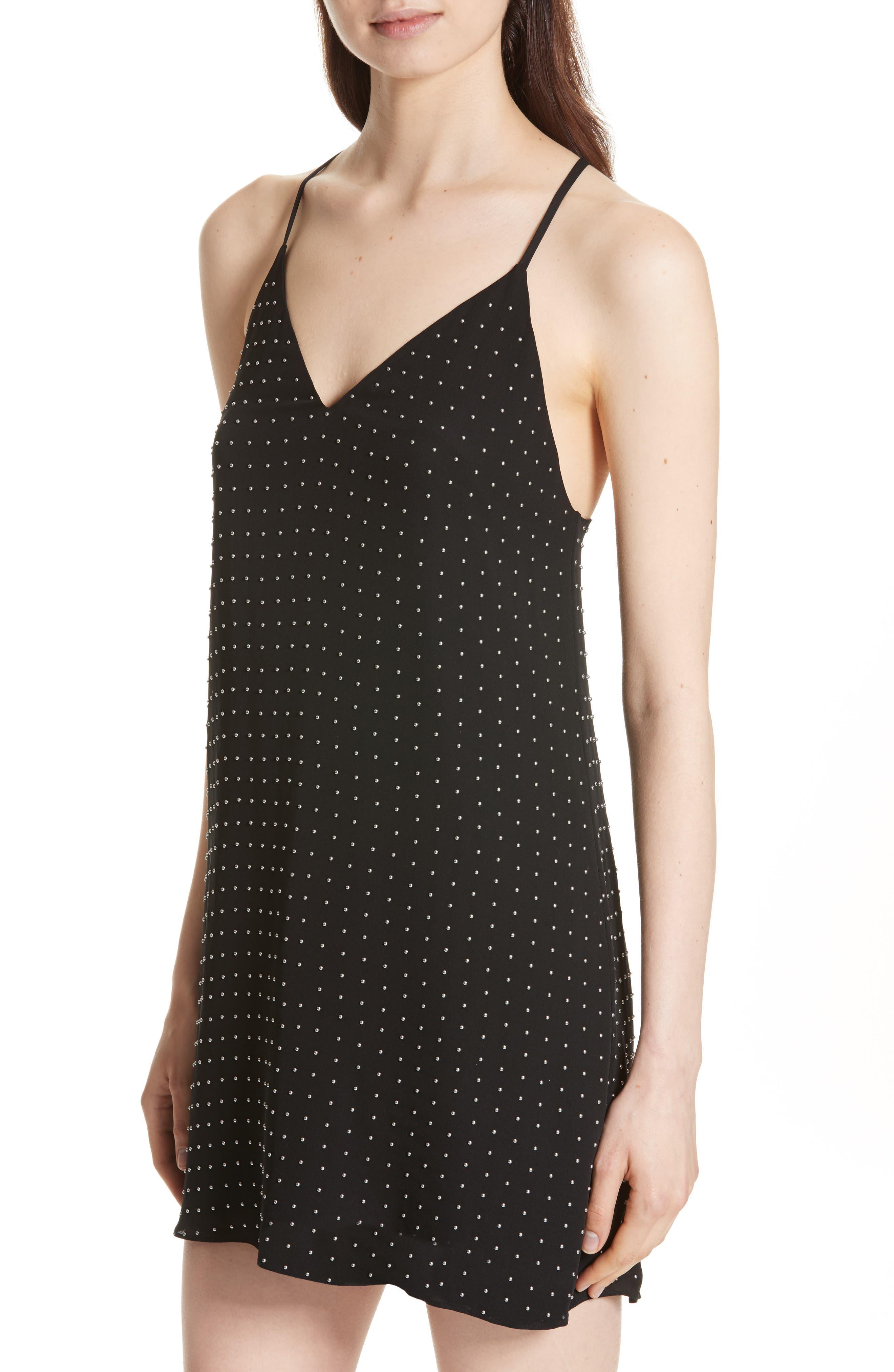 Jameson Studded Y-Back Silk Slipdress,                             Alternate thumbnail 4, color,                             Black