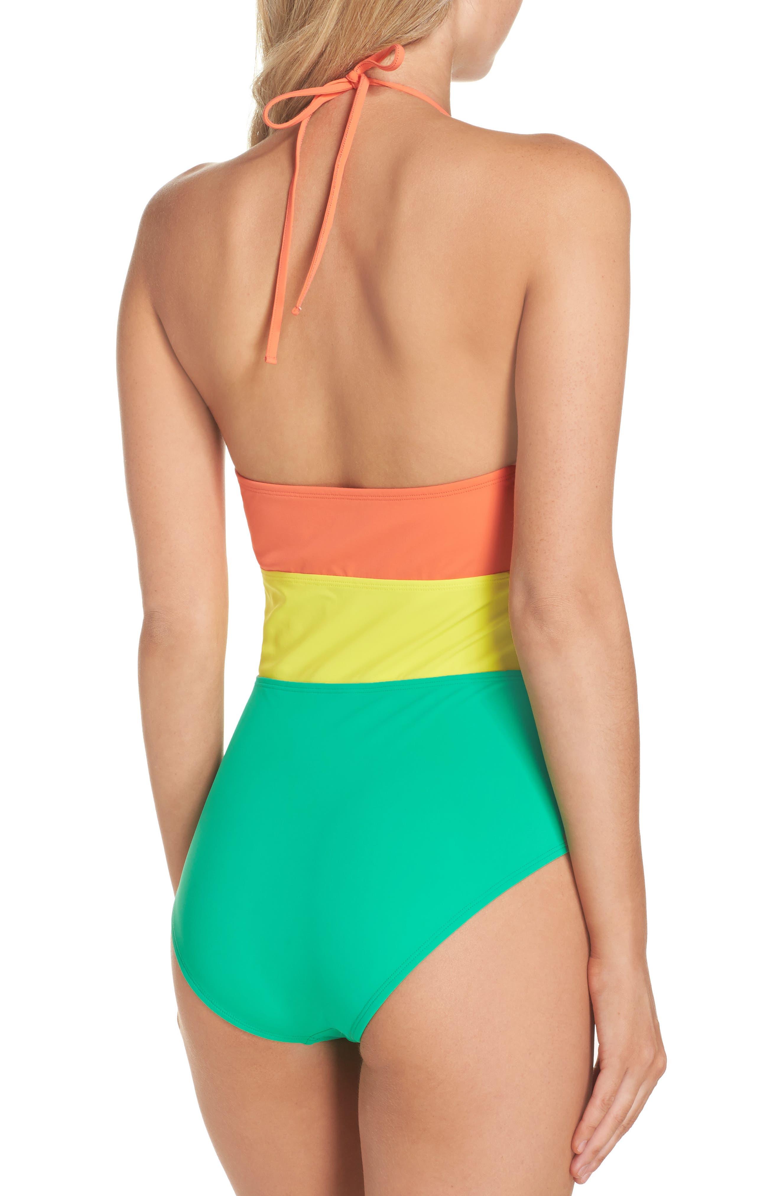 Halter One-Piece Swimsuit,                             Alternate thumbnail 2, color,                             Coral/ Acid