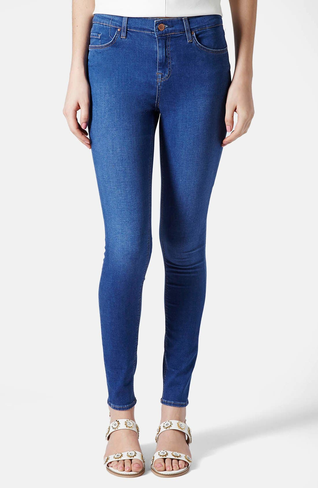 Alternate Image 1 Selected - Topshop 'Leigh' Ankle Skinny Jeans (Mid Denim)