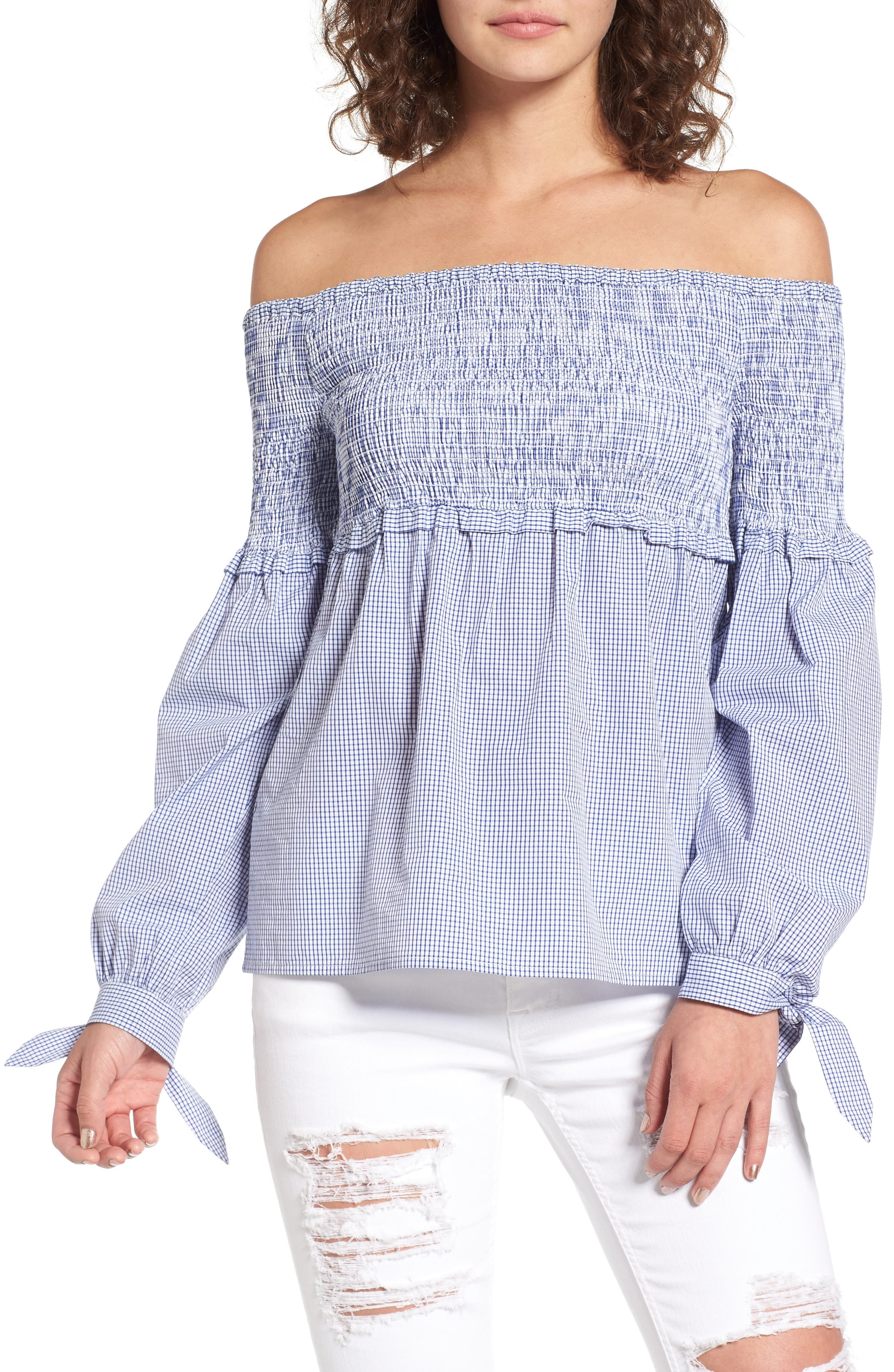 Libby Smocked Off the Shoulder Top,                         Main,                         color, Blue Checker