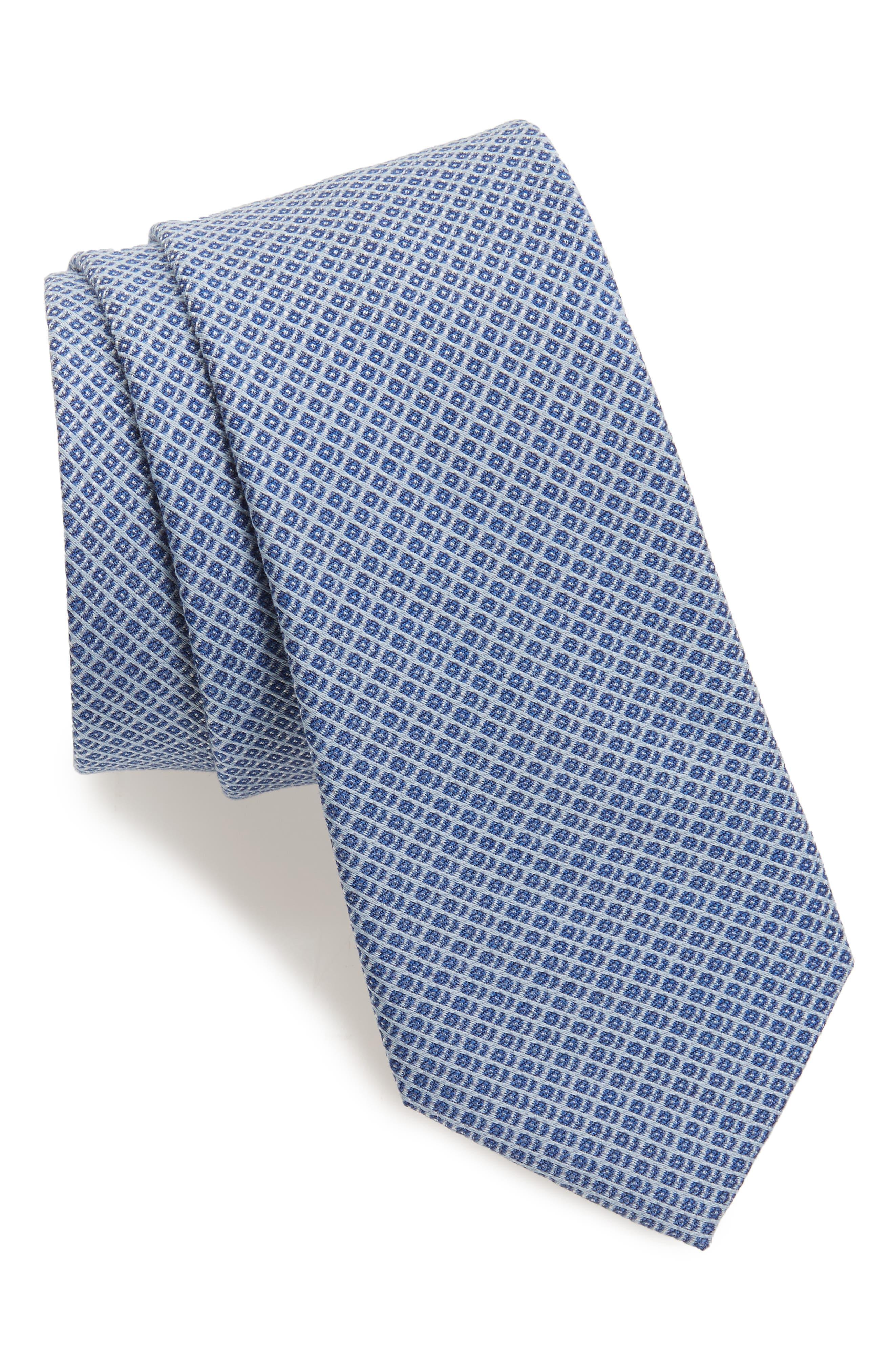 Geometric Silk Blend Tie,                             Main thumbnail 1, color,                             Blue