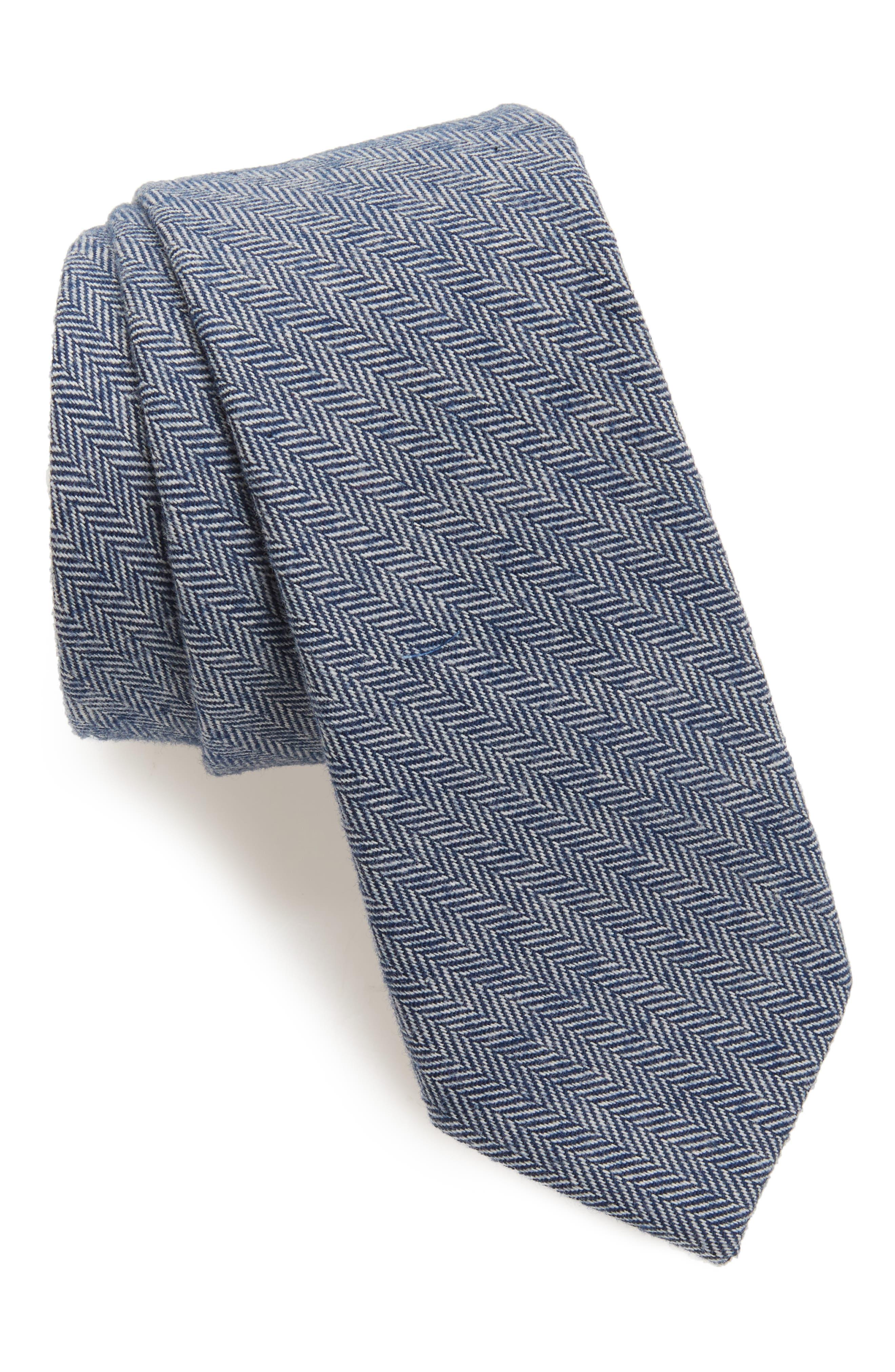 Herringbone Stretch Cotton Tie,                         Main,                         color, Navy