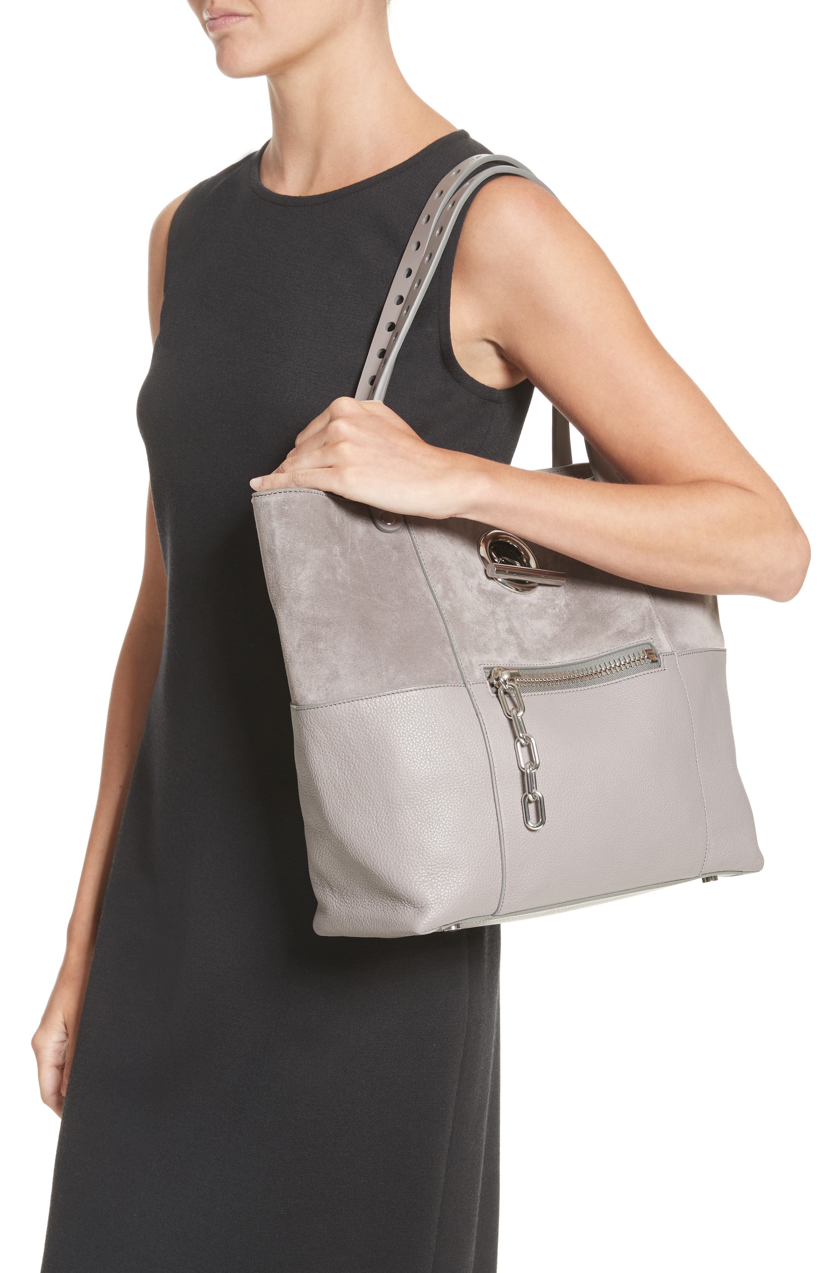 Riot Suede & Leather Tote,                             Alternate thumbnail 2, color,                             Grey