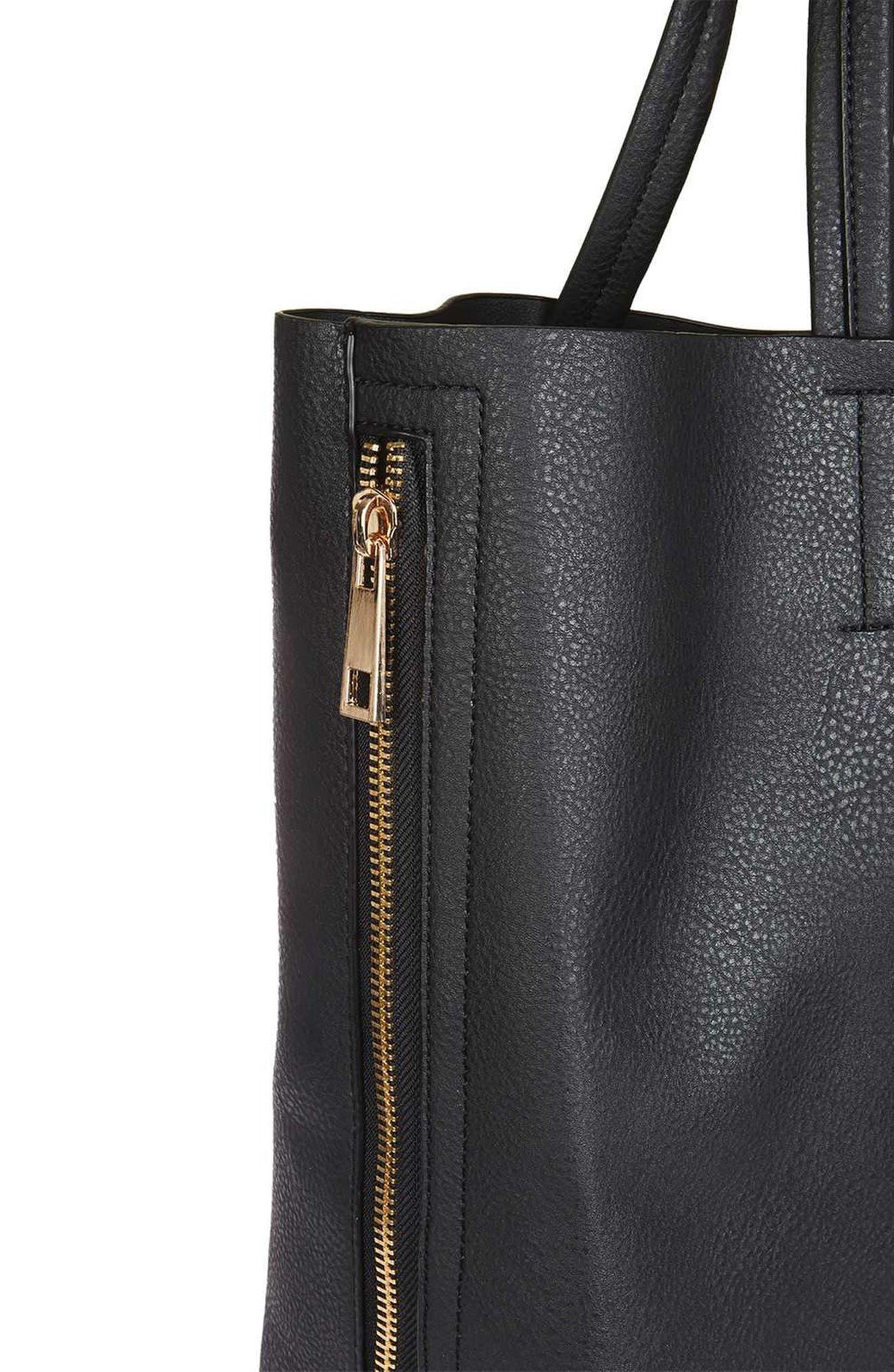 Alternate Image 4  - Topshop Side Zip Faux Leather Shopper