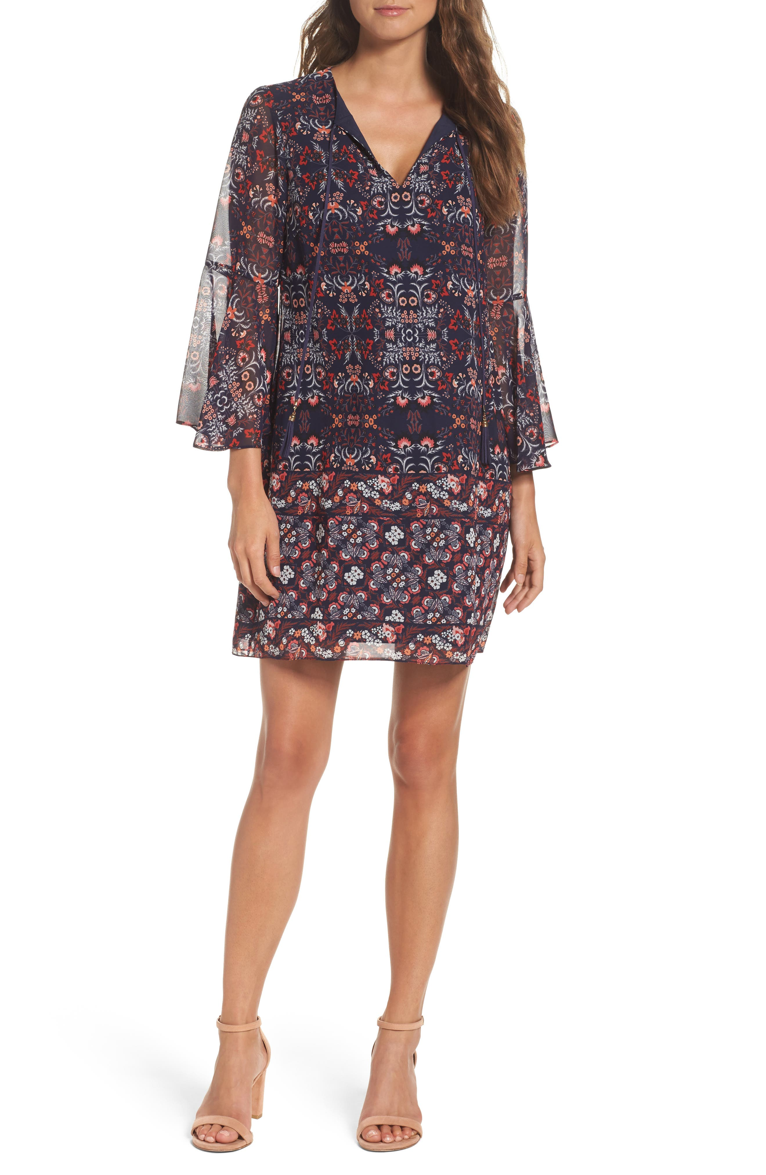 VINCE CAMUTO Chiffon Bell Sleeve Dress