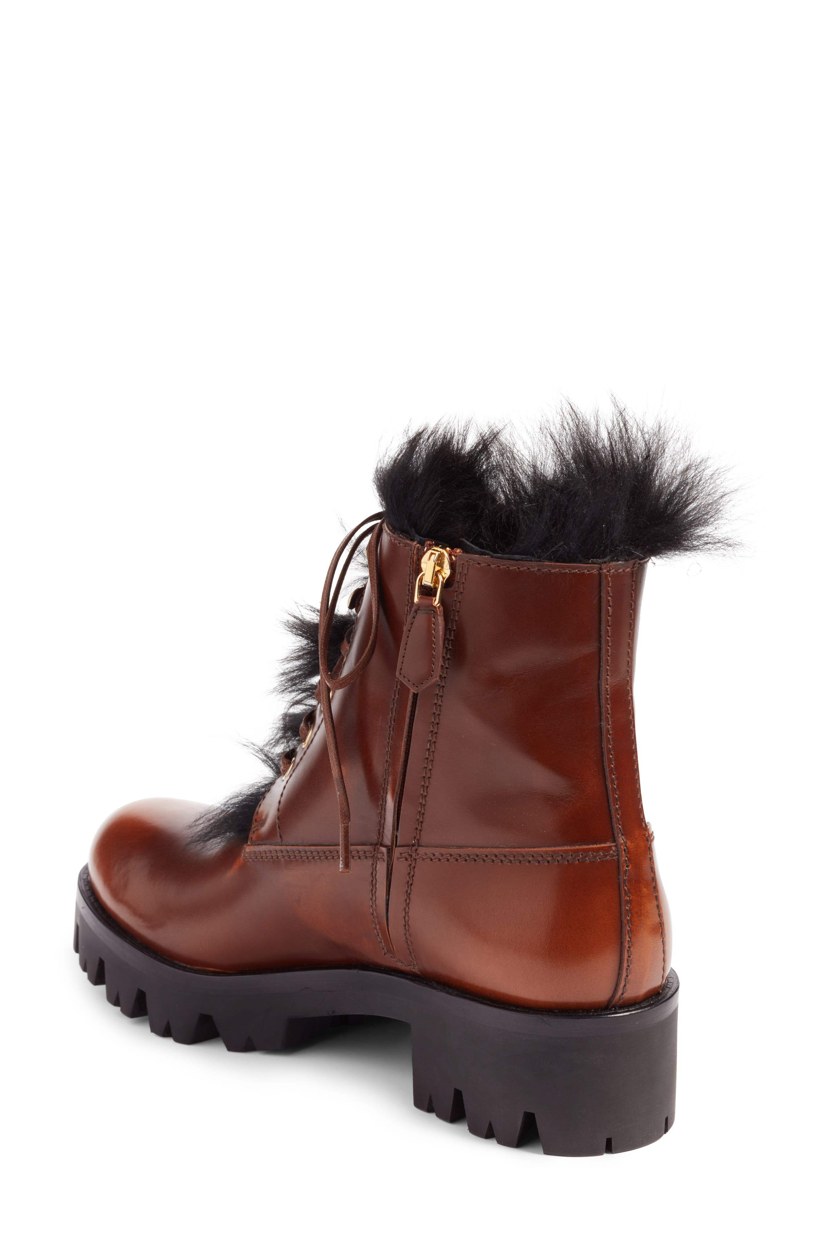 Calfskin Boot with Genuine Shearling Trim,                             Alternate thumbnail 2, color,                             Brown