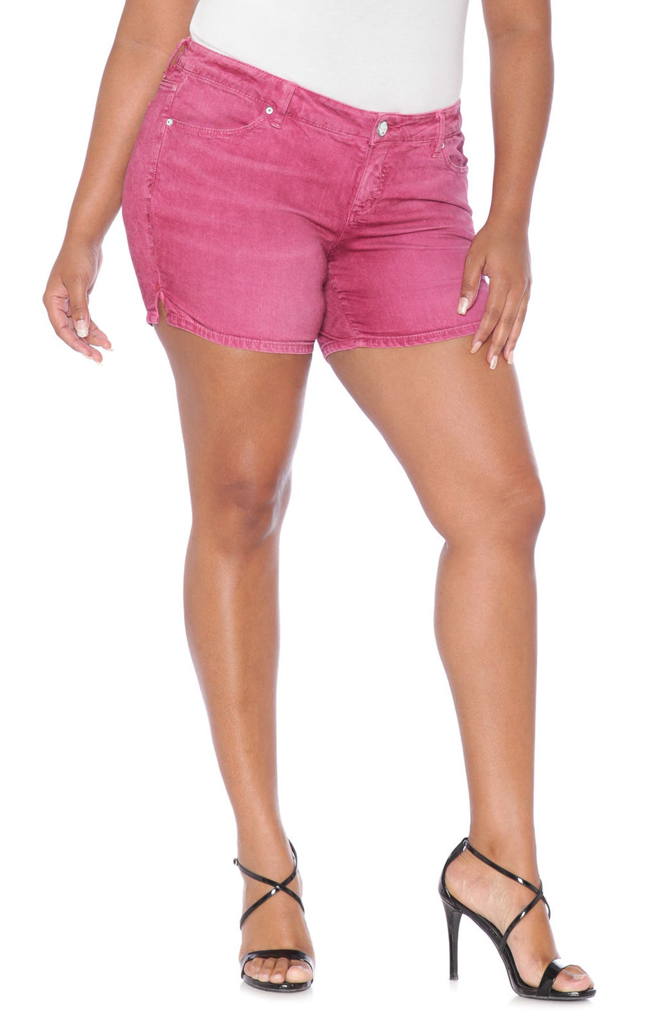 Stretch Twill Shorts,                         Main,                         color, Berry