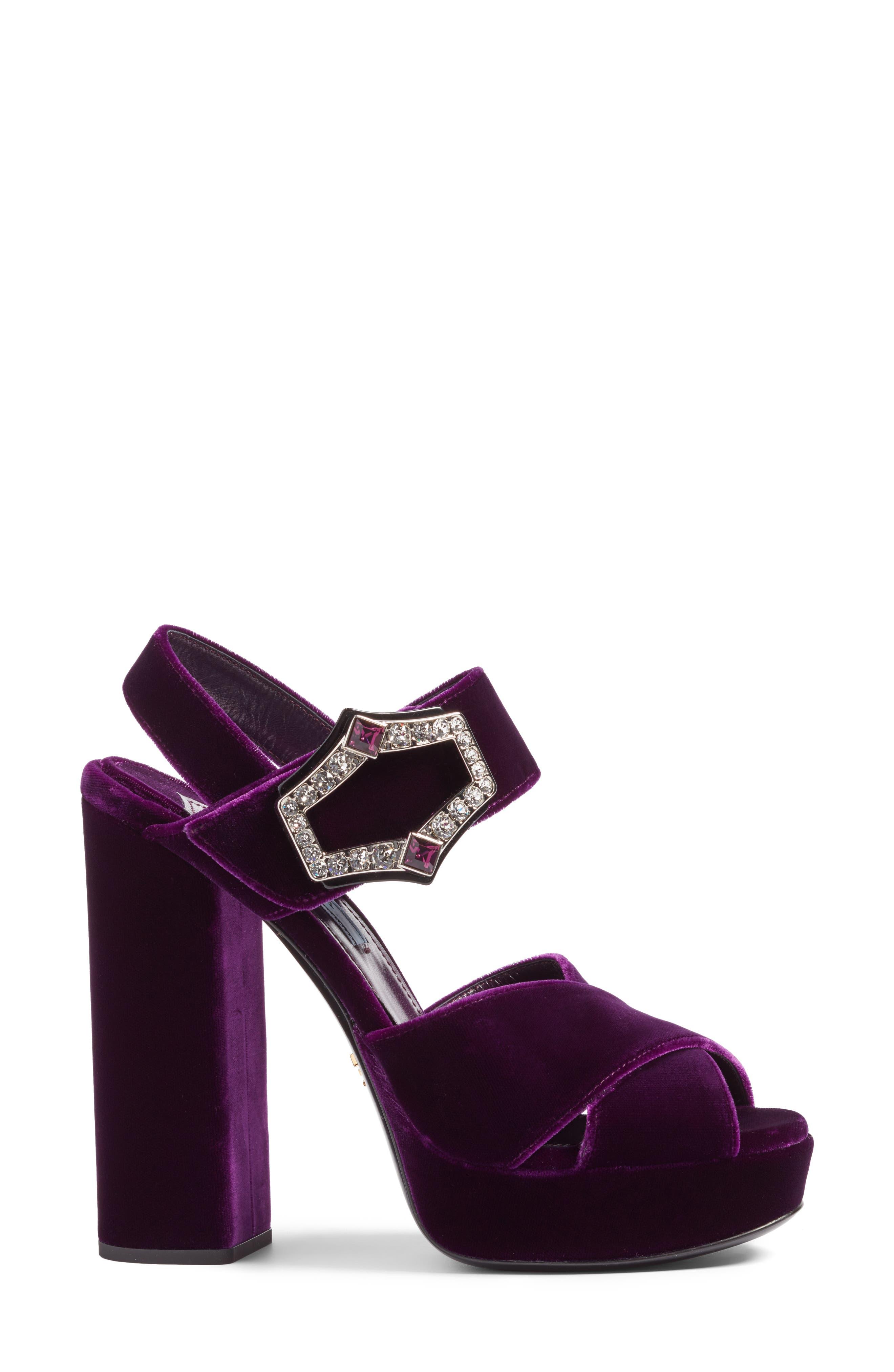 Criss Cross Platform Sandal,                             Alternate thumbnail 3, color,                             Purple