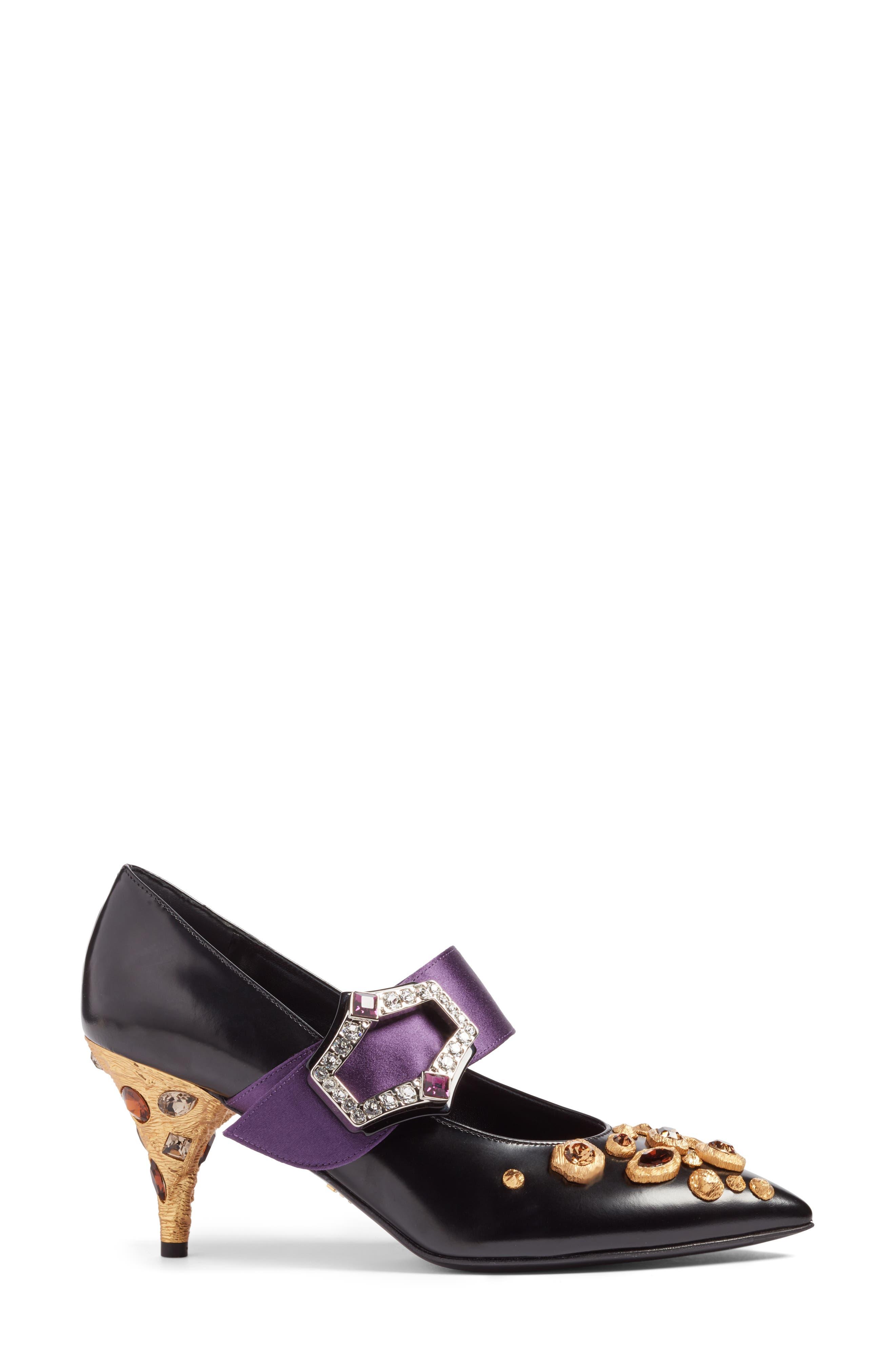 Jeweled Mary Jane Pump,                             Alternate thumbnail 3, color,                             Black/ Purple