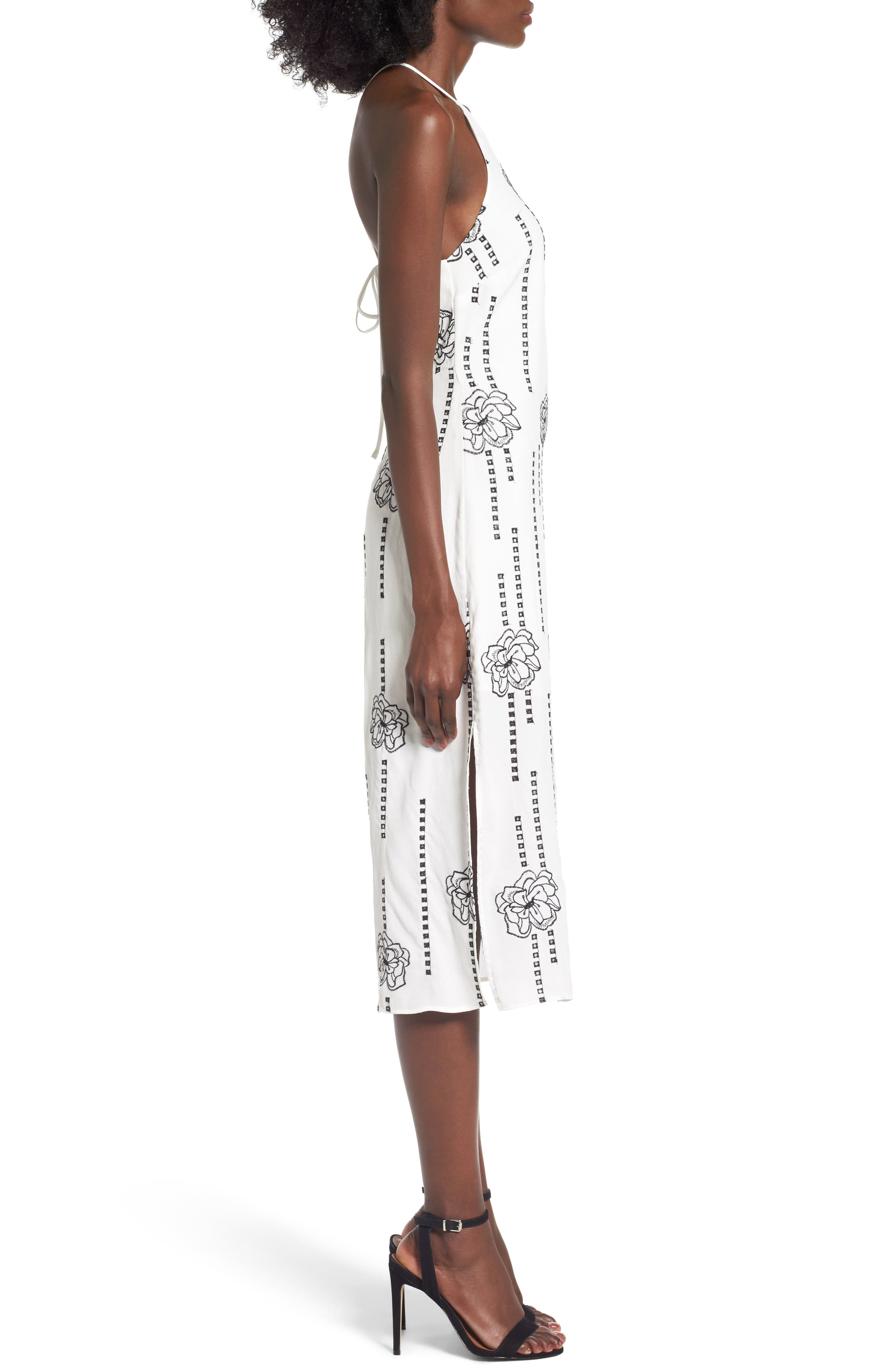 High Neck Embroidered Midi Dress,                             Alternate thumbnail 3, color,                             White-Black