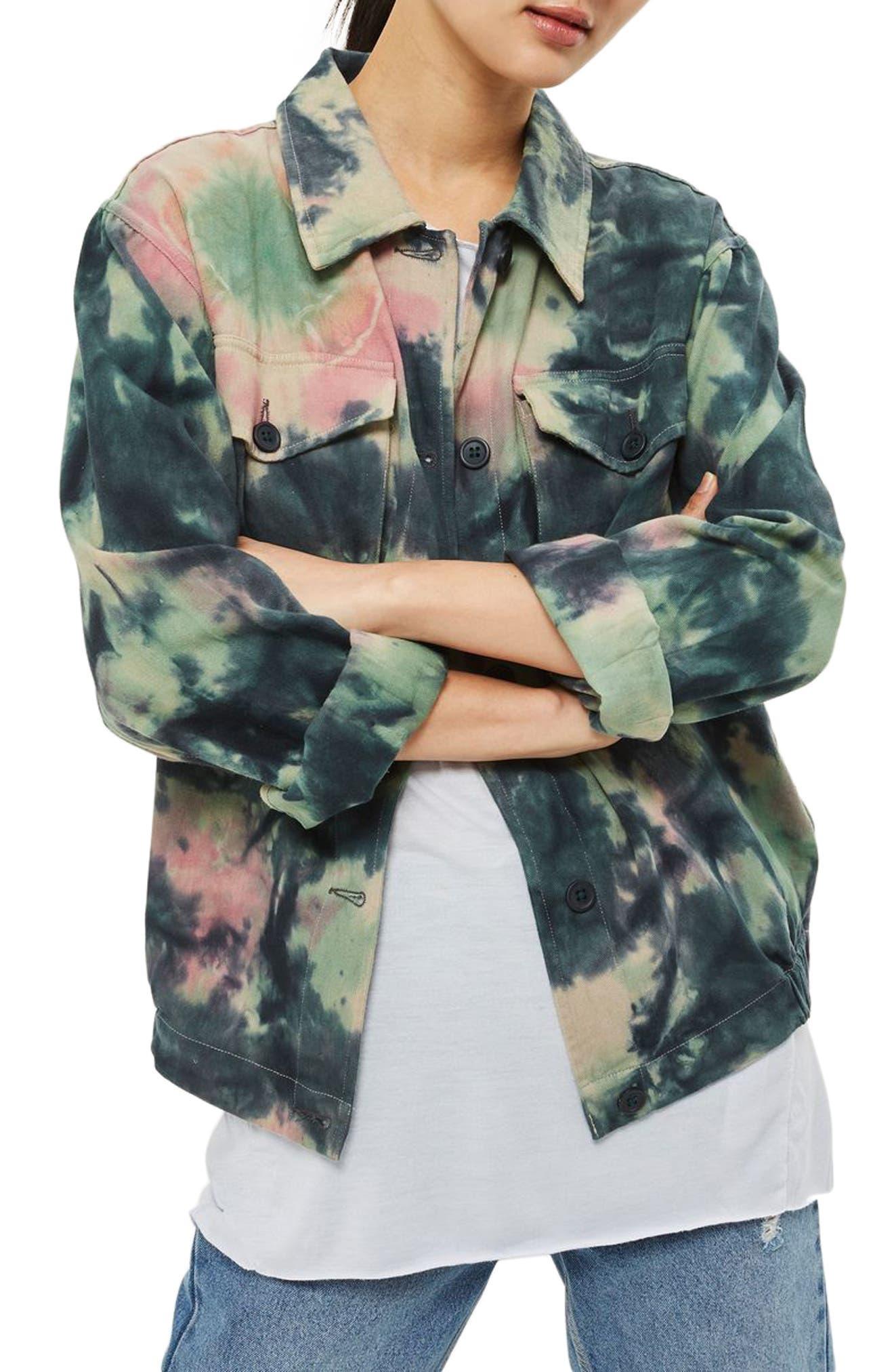 Topshop Tie-Dye Shirt Jacket