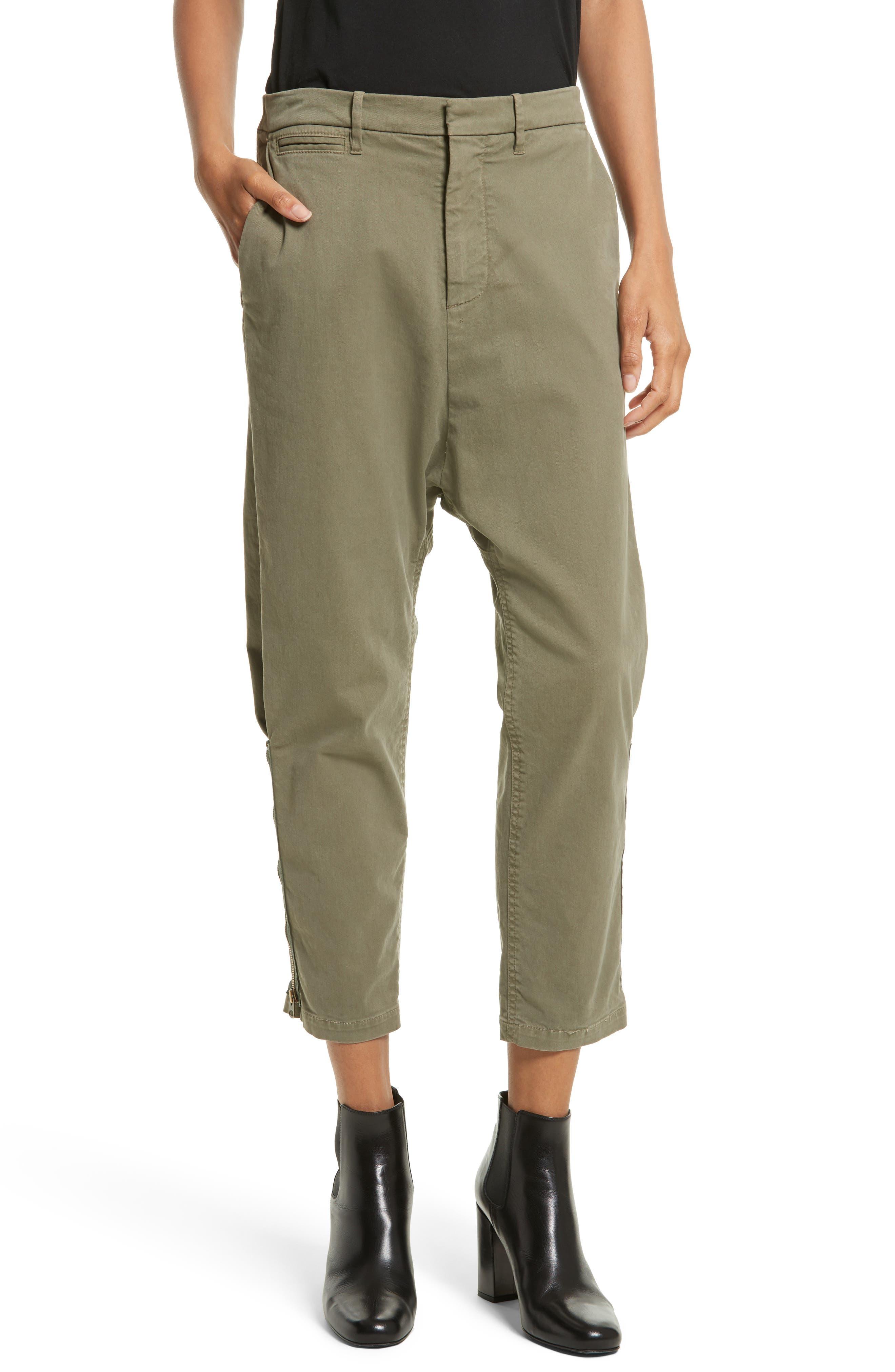 Alternate Image 1 Selected - Nili Lotan Jackson Side Zip Detail Drop Waist Crop Pants