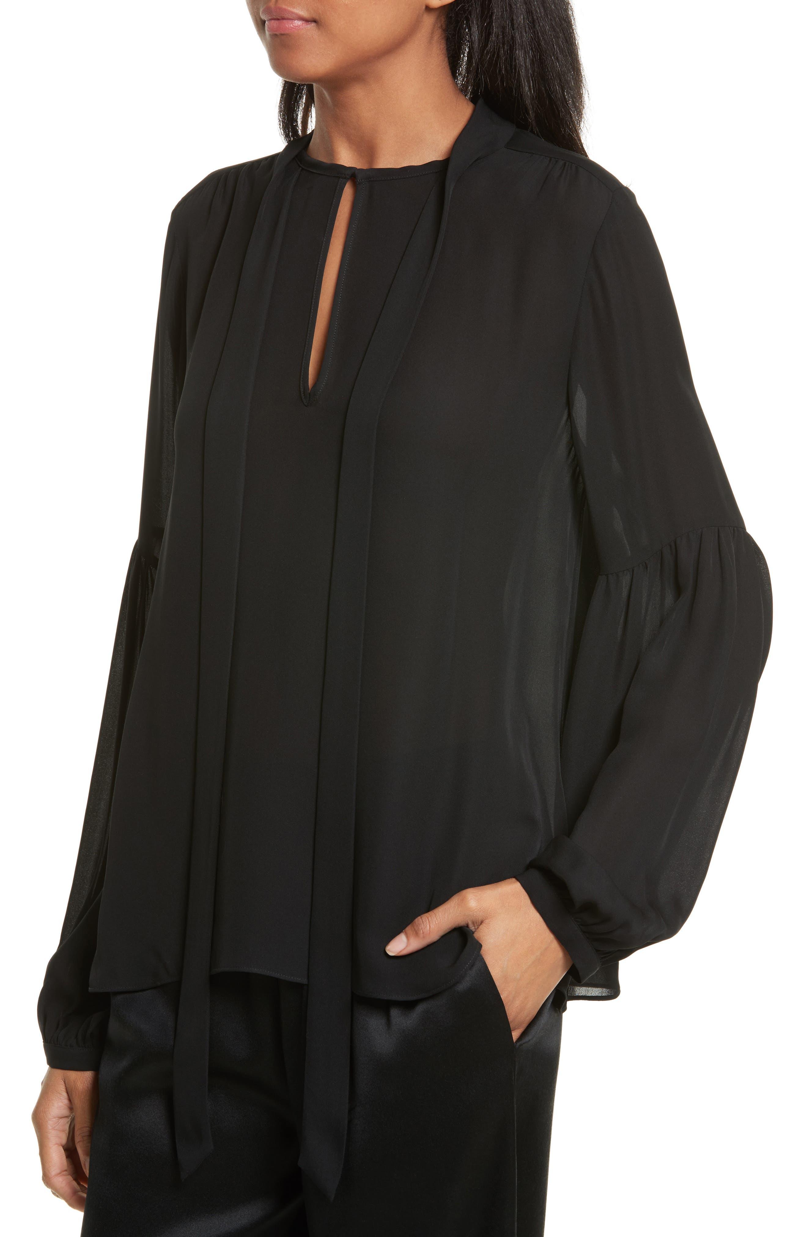 Alternate Image 4  - Nili Lotan Abbeline Tie Neck Silk Georgette Top
