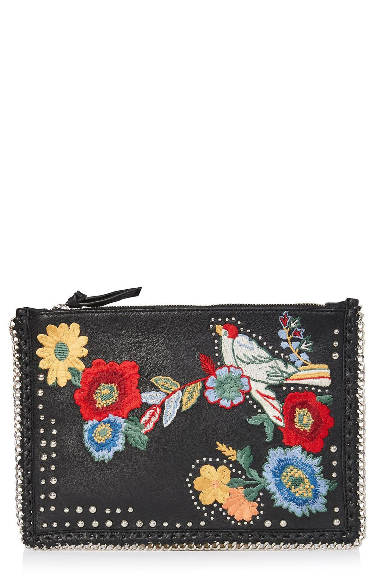 Alternate Image 1 Selected - Topshop Oto Embroidered Leather Crossbody Bag
