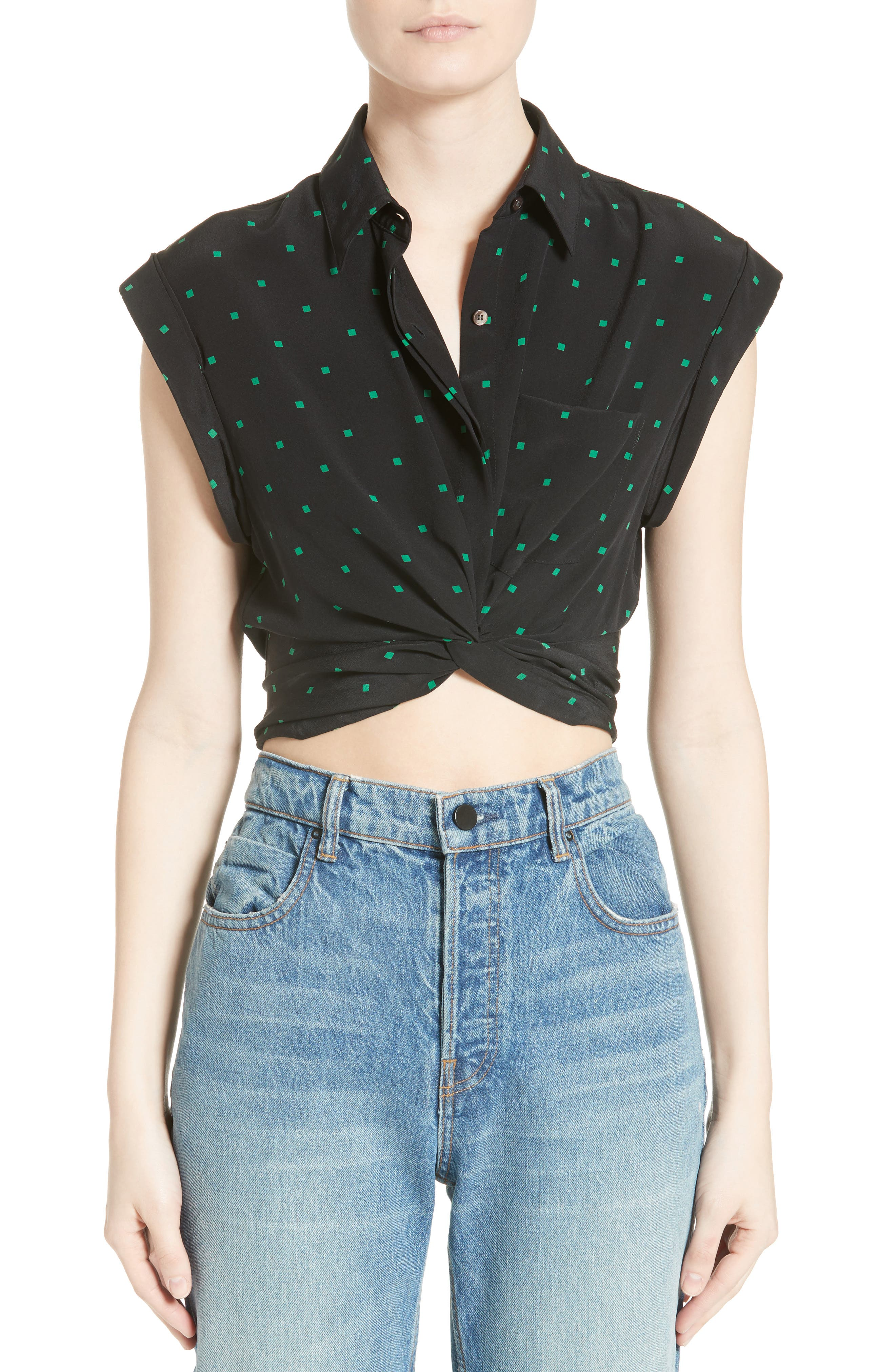 Knotted Print Silk Crop Top,                         Main,                         color, Black With Emerald Print