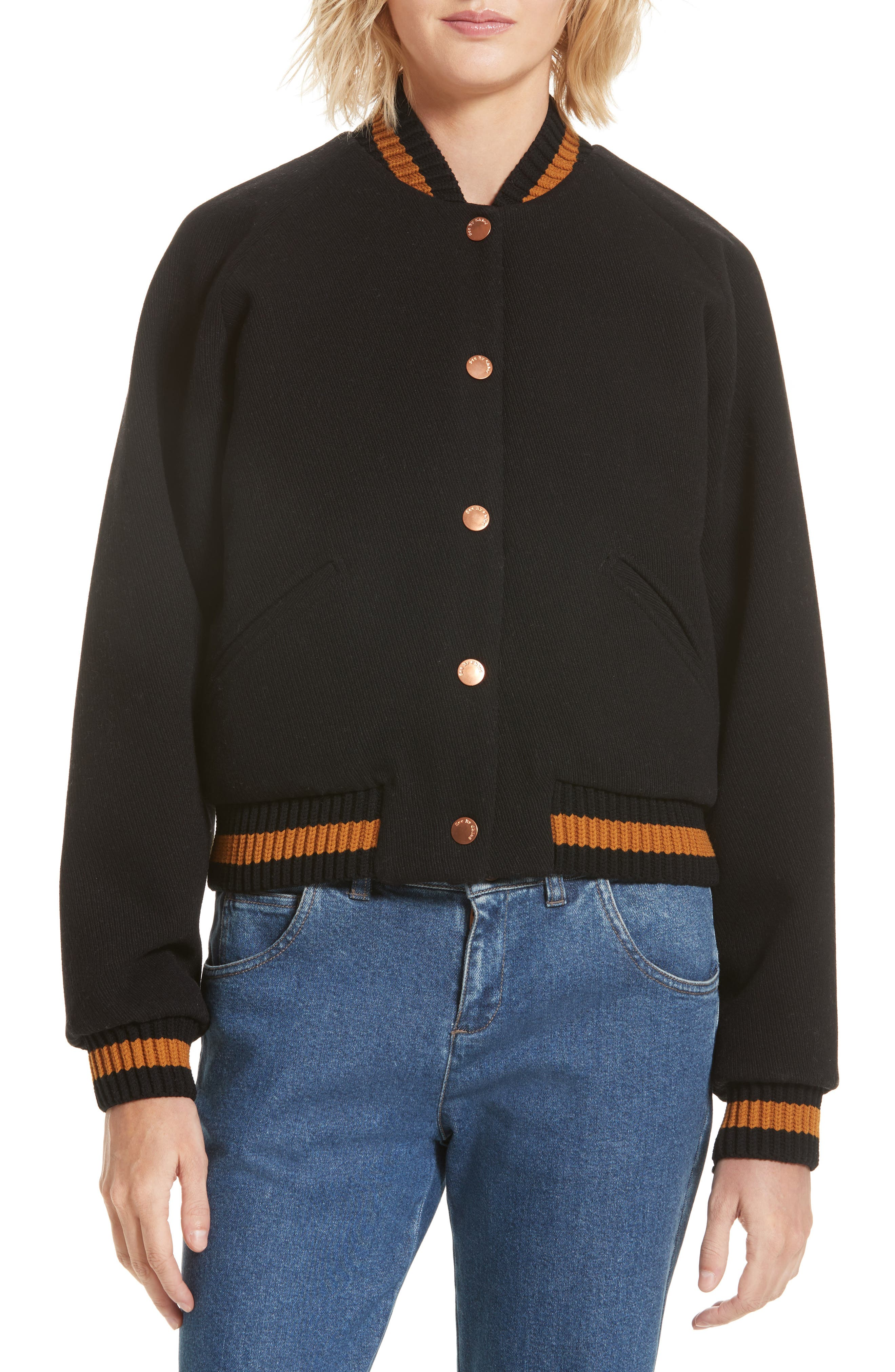 See by Chloé Varsity Bomber Jacket