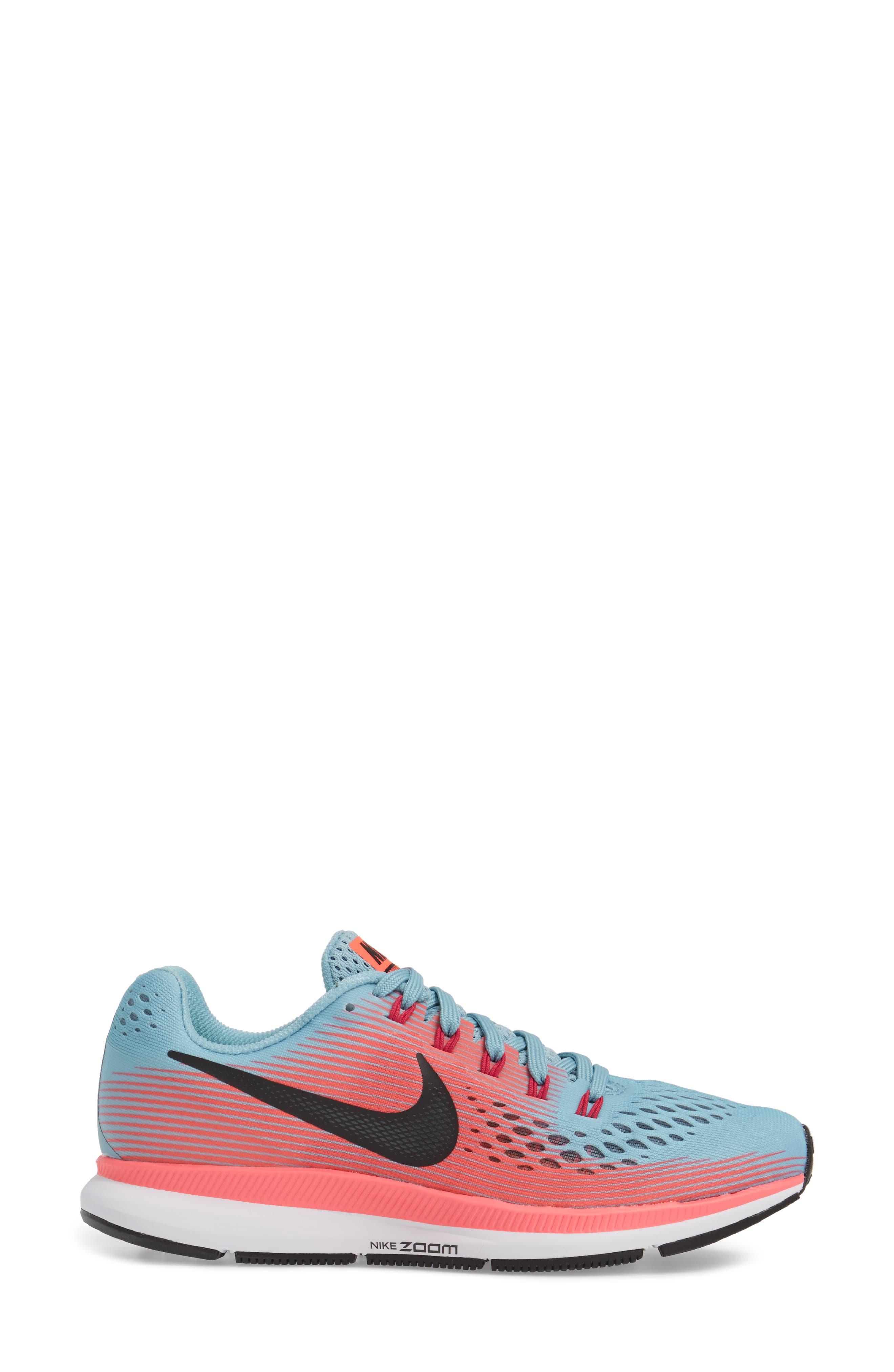 Air Zoom Pegasus 34 Running Shoe,                             Alternate thumbnail 3, color,                             Blue/ White/ Pink/ Fuchsia