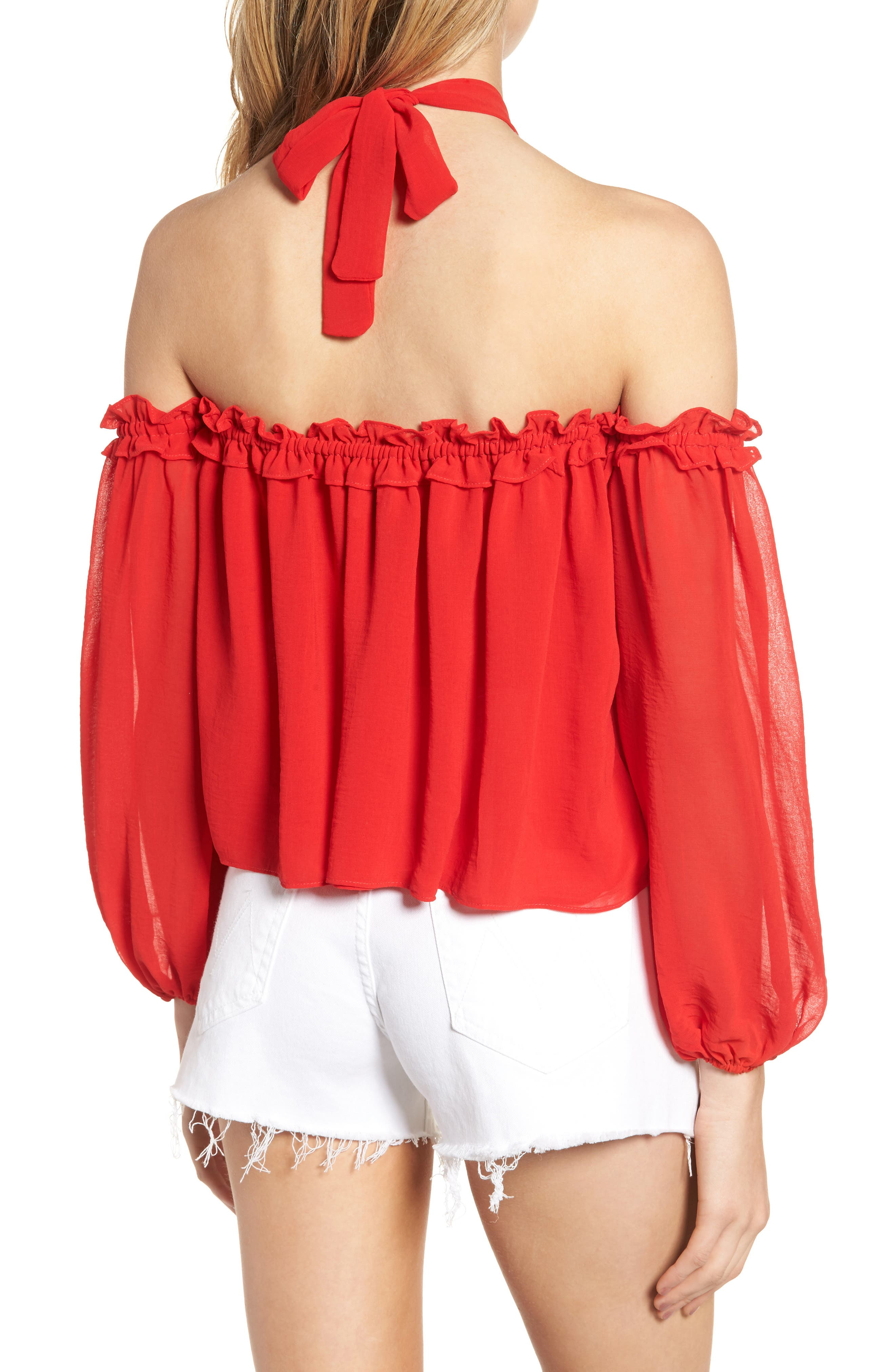 Lively Off the Shoulder Top,                             Alternate thumbnail 3, color,                             Red