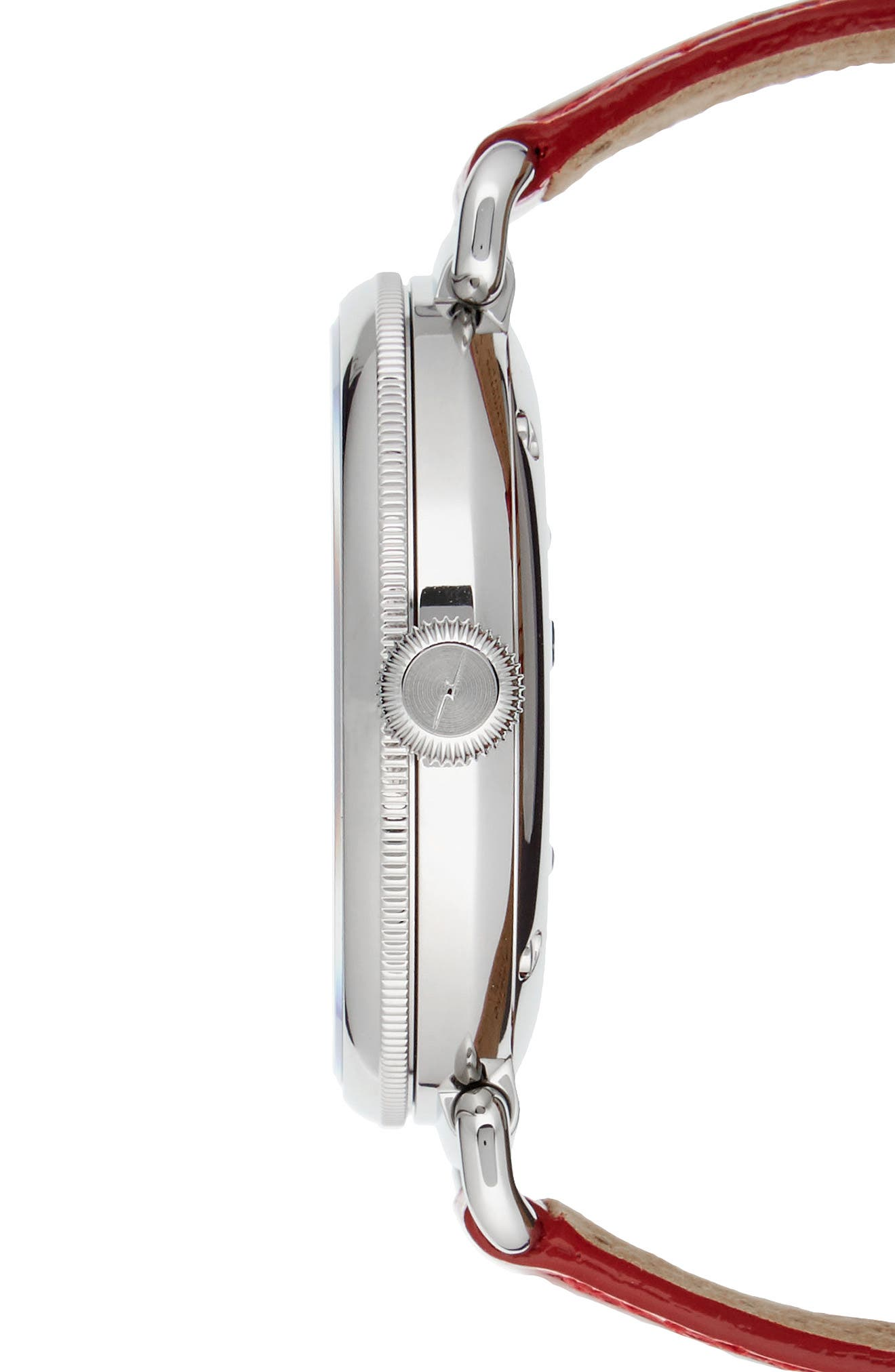 The Canfield Alligator Strap Watch, 38mm,                             Alternate thumbnail 3, color,                             Red/ Mop/ Silver
