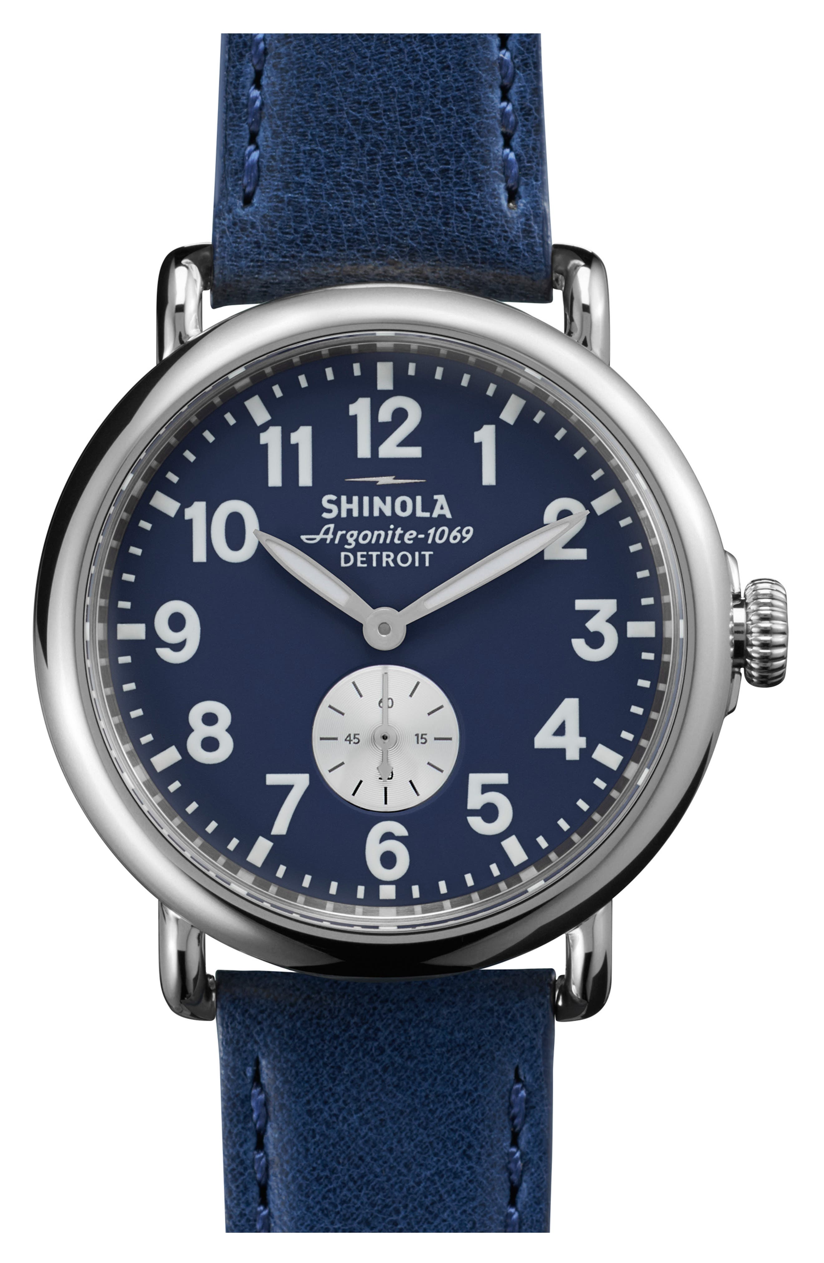'The Runwell' Leather Strap Watch, 41mm,                         Main,                         color, Midnight Blue/ Silver