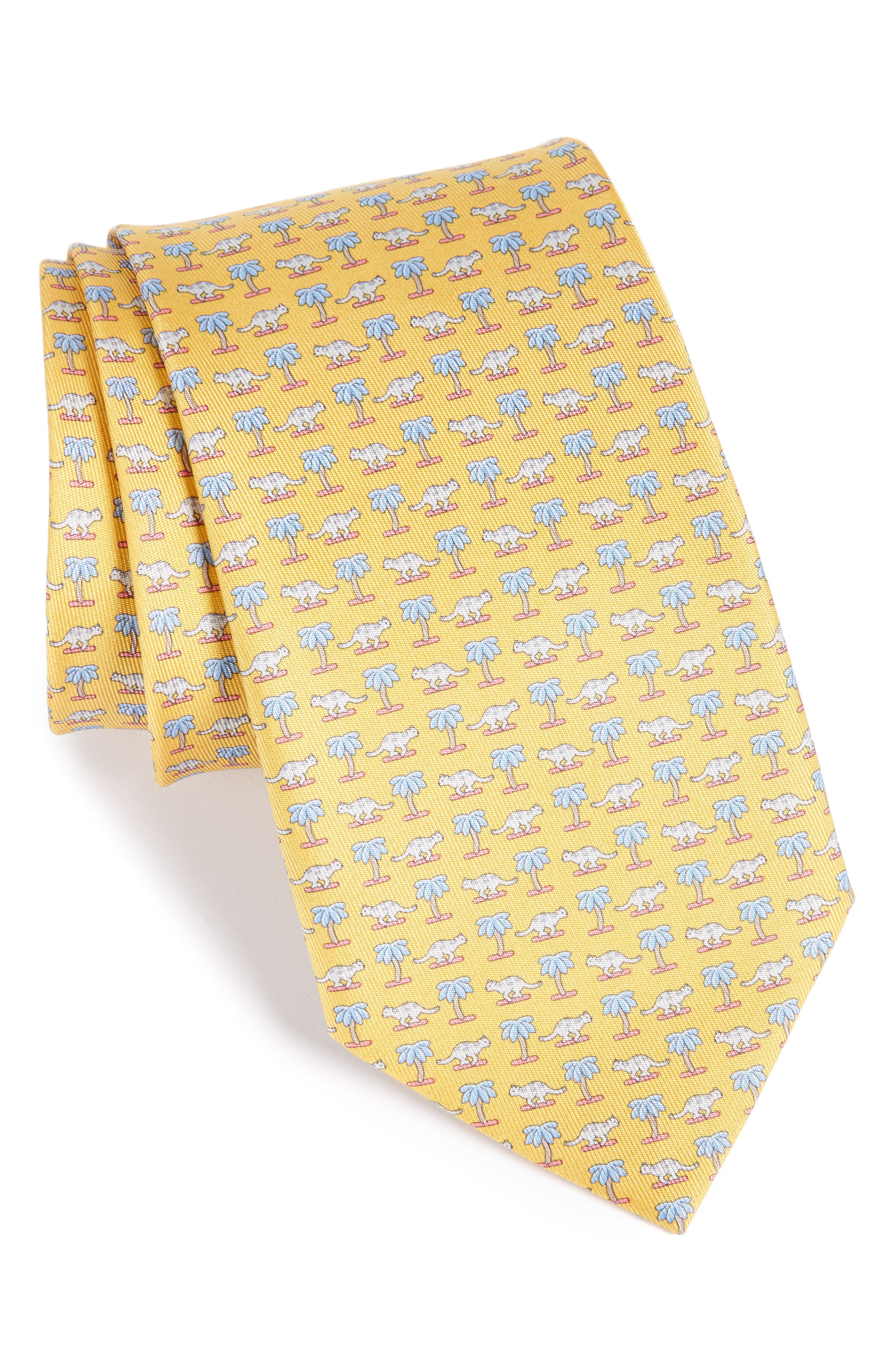 Salvatore Ferragamo Dinosaur Print Silk Tie