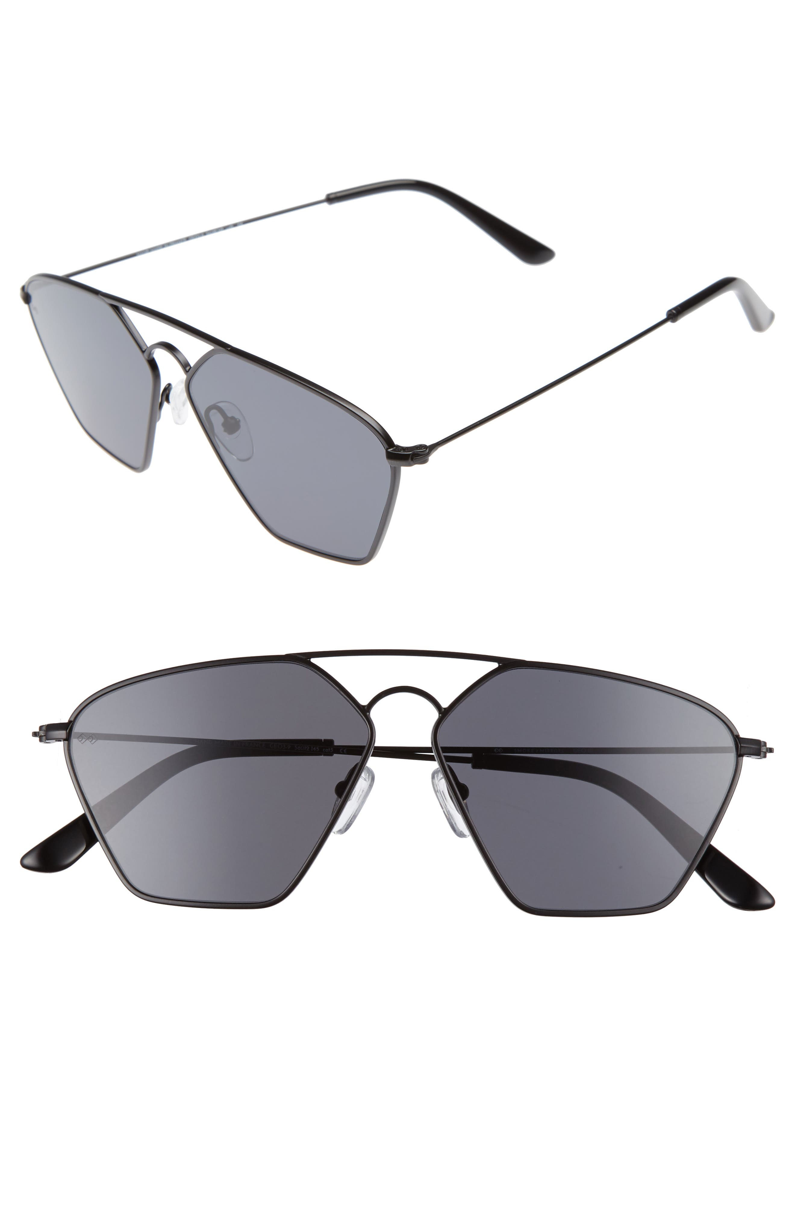 Geo 3 56mm Retro Sunglasses,                             Main thumbnail 1, color,                             Matte Black/ Dark Black
