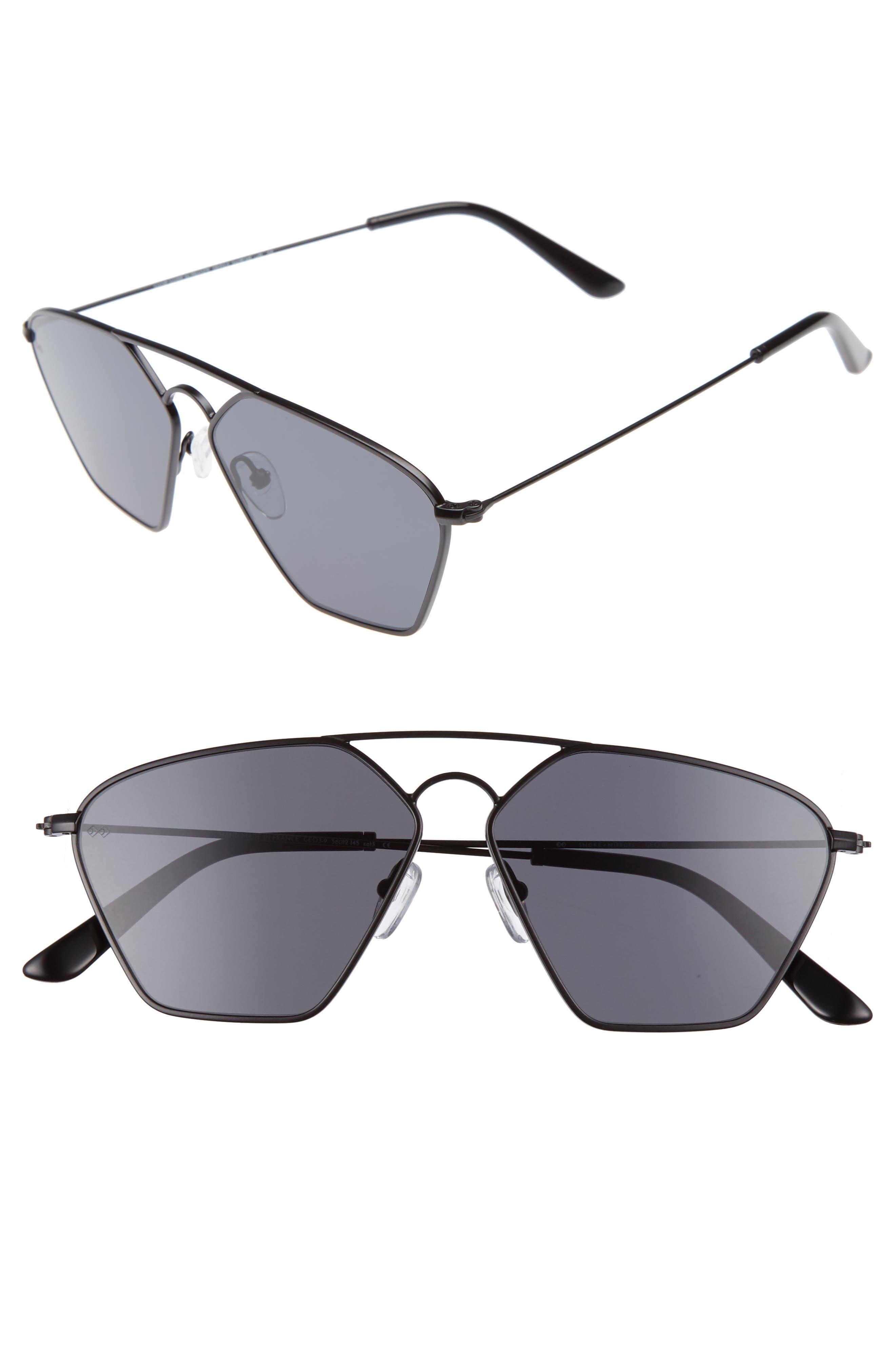 Geo 3 56mm Retro Sunglasses,                         Main,                         color, Matte Black/ Dark Black