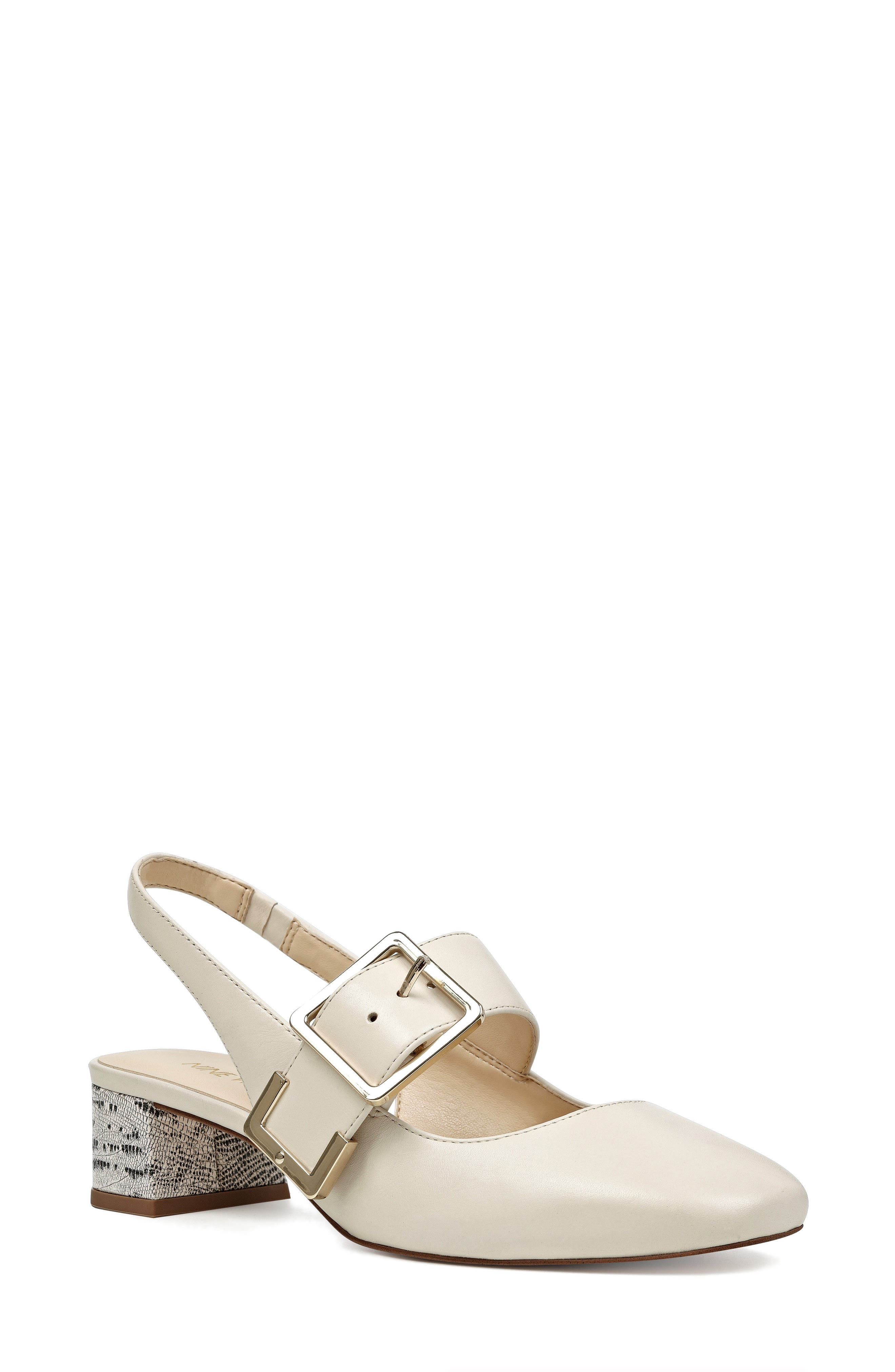 Wendor Slingback Pump,                         Main,                         color, Off White Leather