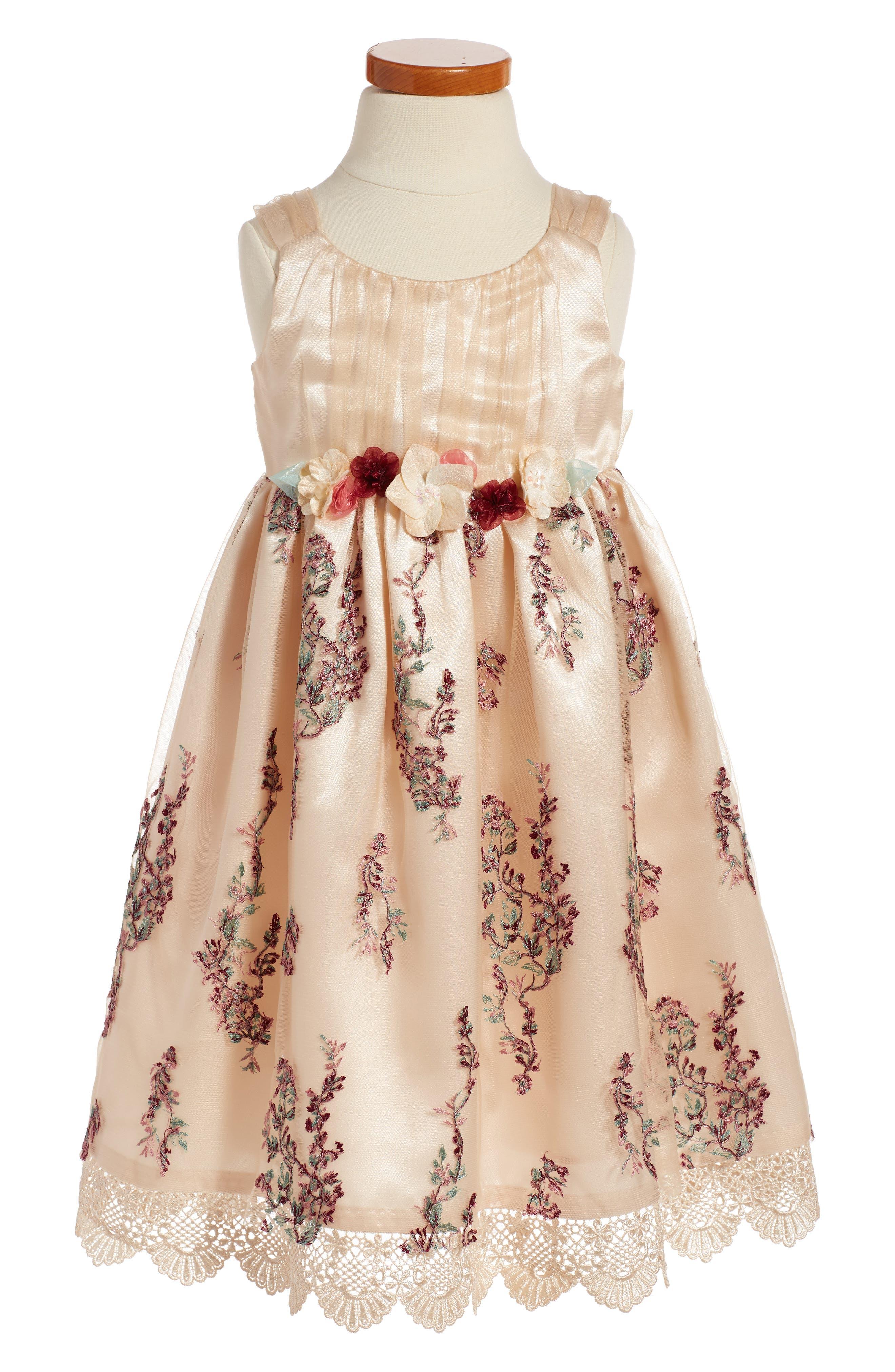 Iris & Ivy Embroidered Sleeveless Dress (Toddler Girls & Little Girls)