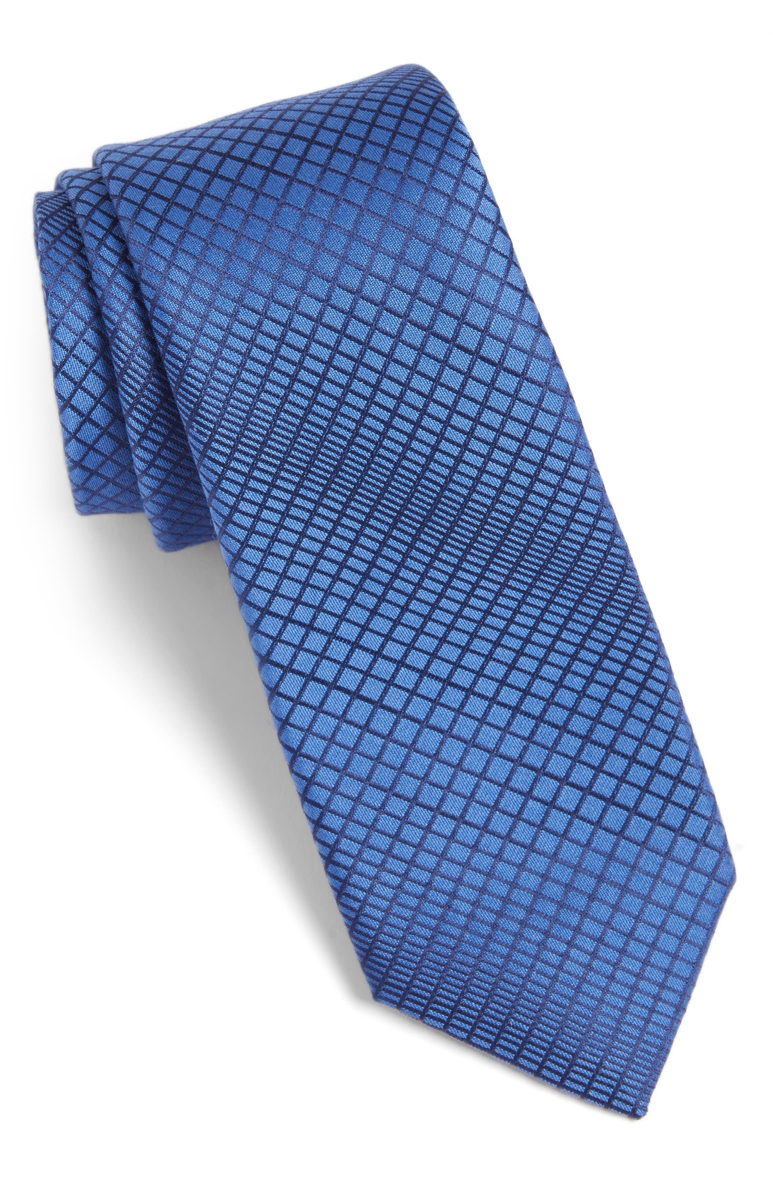 Jordyn Geometric Cotton & Silk Tie,                             Main thumbnail 1, color,                             Blue