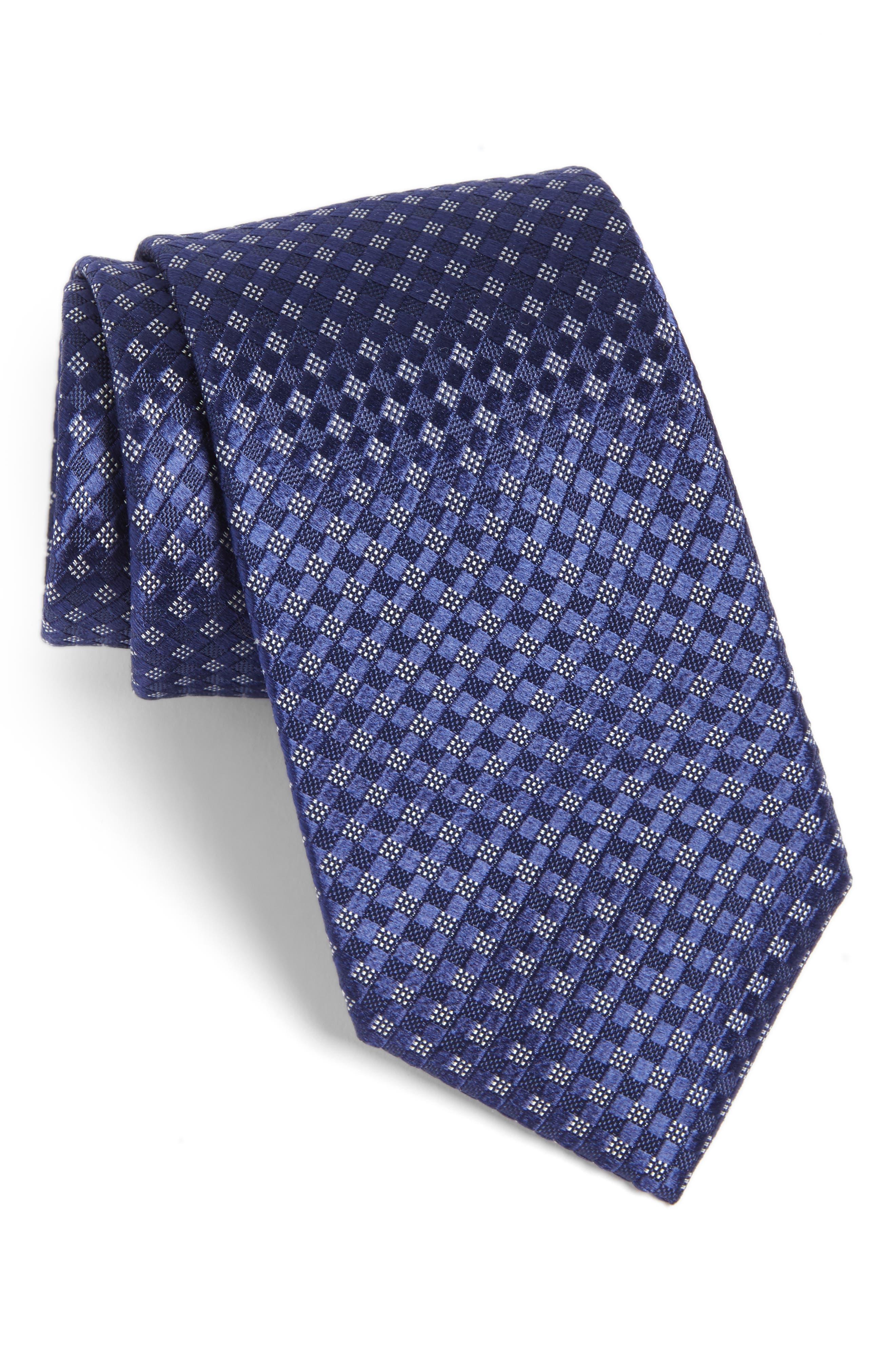 Artesia Check Silk Tie,                         Main,                         color, Navy