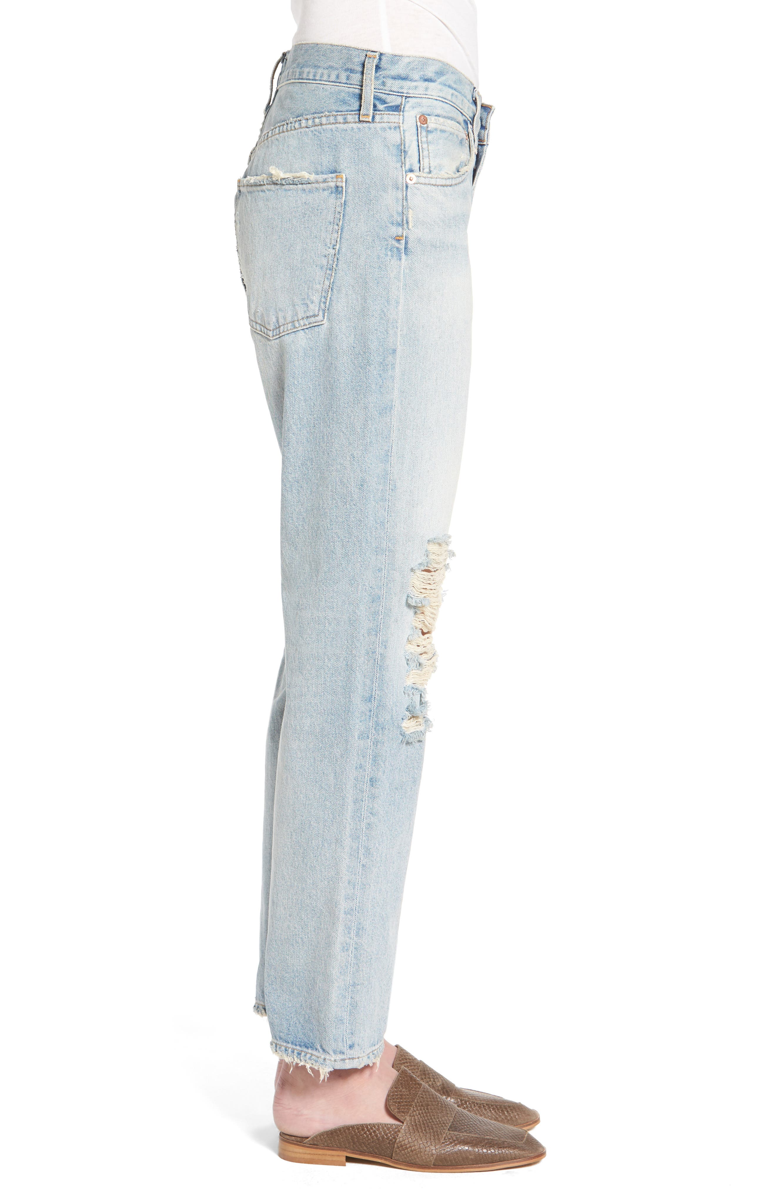 Alternate Image 3  - AGOLDE Ripped High Waist Straight Leg Jeans (Runaway)
