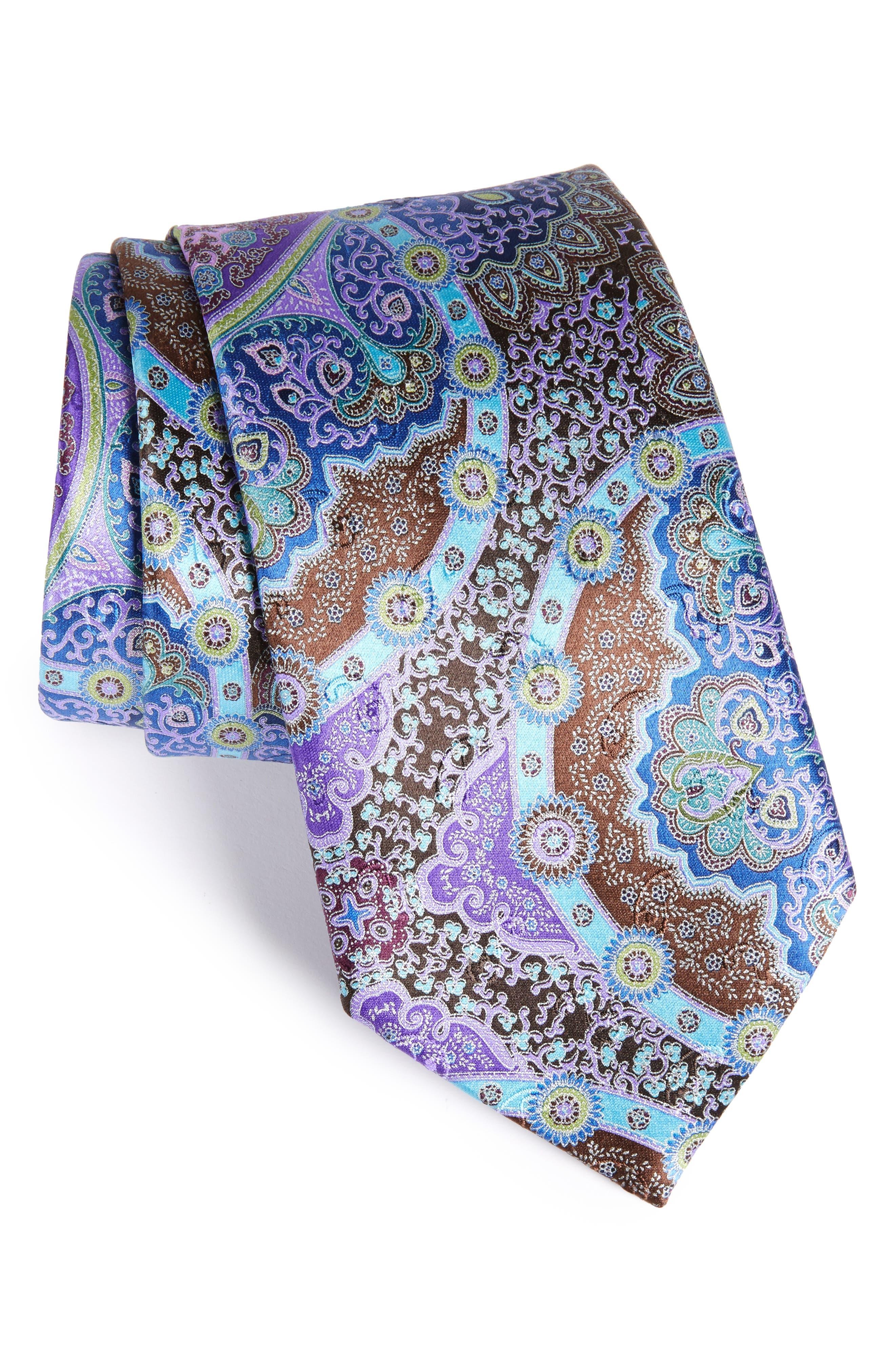 Quindici Paisley Silk Tie,                             Main thumbnail 1, color,                             Dark Purple Fan